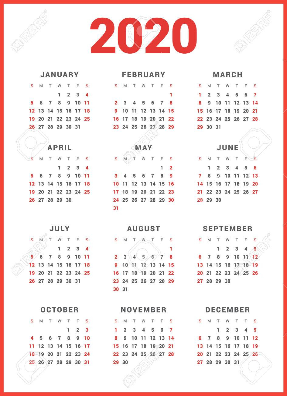 Calendar For 2020 Year On White Background. Week Starts Sunday intended for 2020 Monday Through Sunday Calendar Template