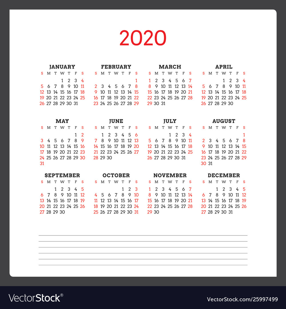 Calendar For 2020 Year Week Starts On Sunday regarding 2020 Printable Calendars Beginning With Monday