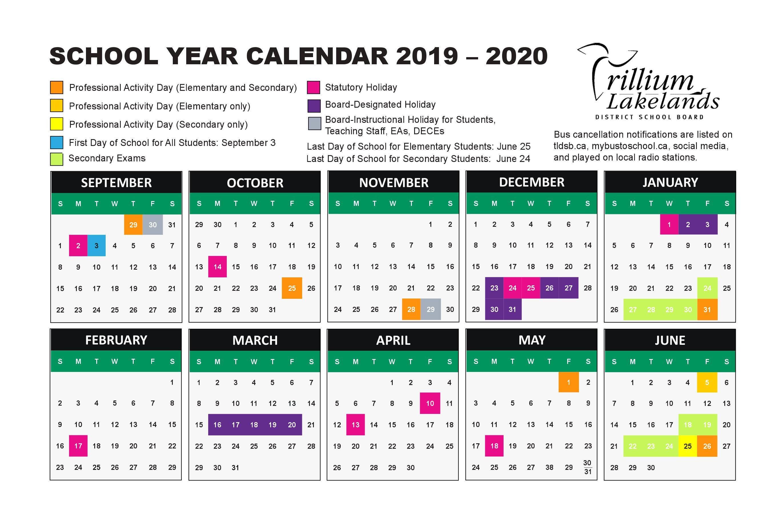 Calendar – Gravenhurst High School with regard to Yrdsb Calendar 2020