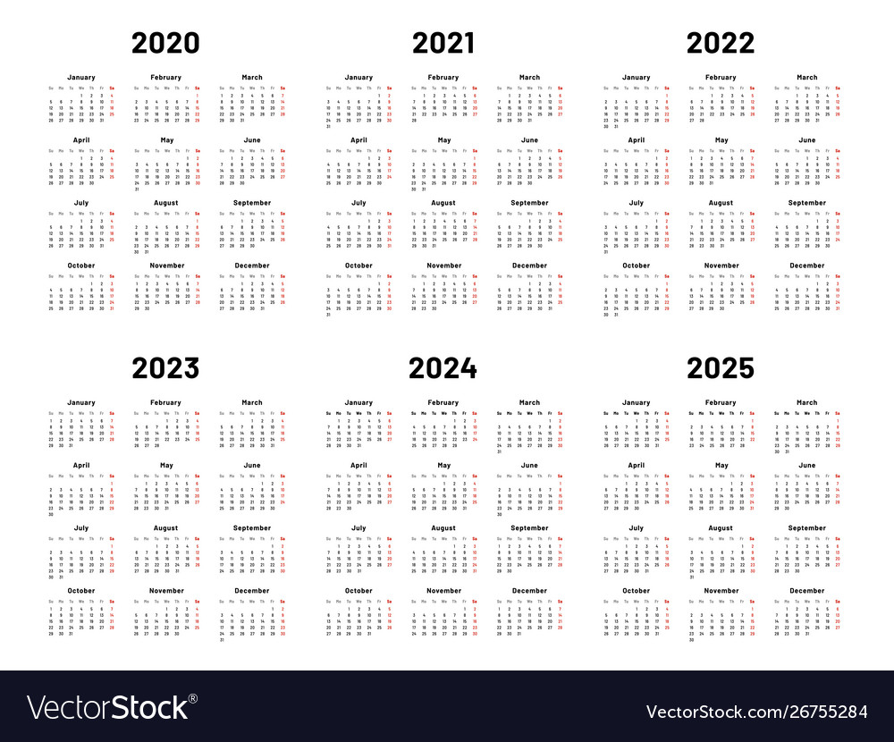 Calendar Grid 2020 2021 And 2022 Yearly Calendars for Free Printable Calendar 2020-2022