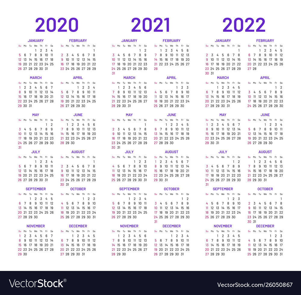 Calendar Layouts For 2020 2021 2022 Years within 2 Year Calendar Template 2020 2021