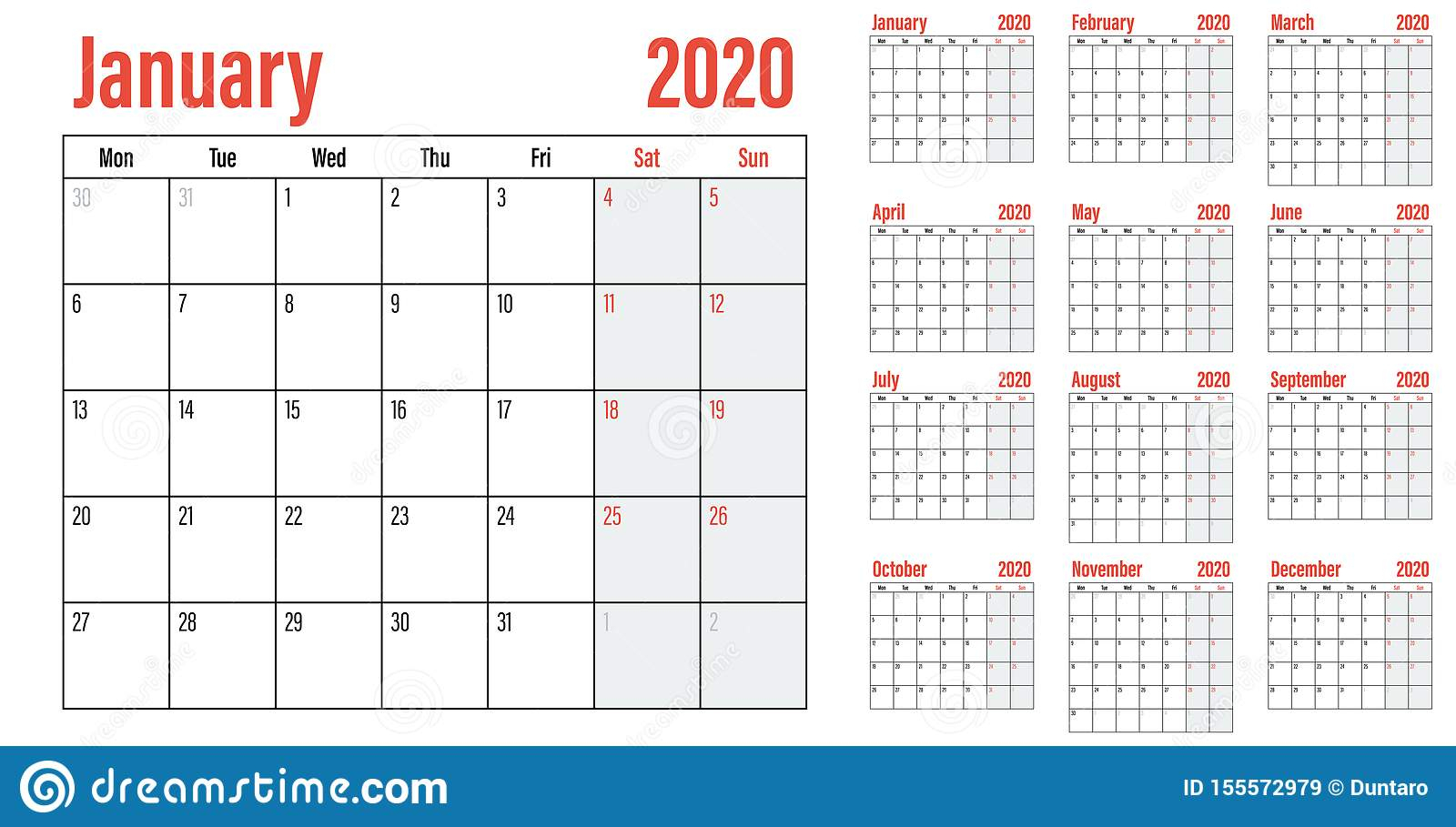 Calendar Planner 2020 Template Vector Illustration Stock in 2020 Printable Calendars Beginning With Monday