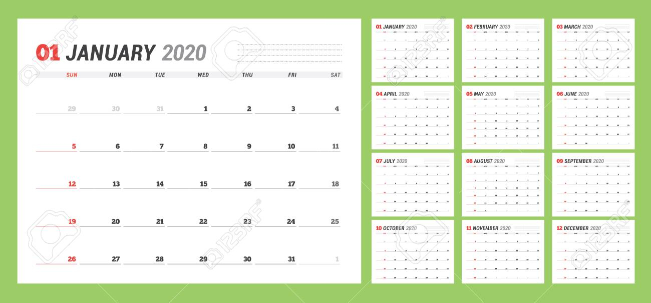 Calendar Template For 2020 Year. Business Planner. Stationery.. for Free Printable Yearly Planner 2020