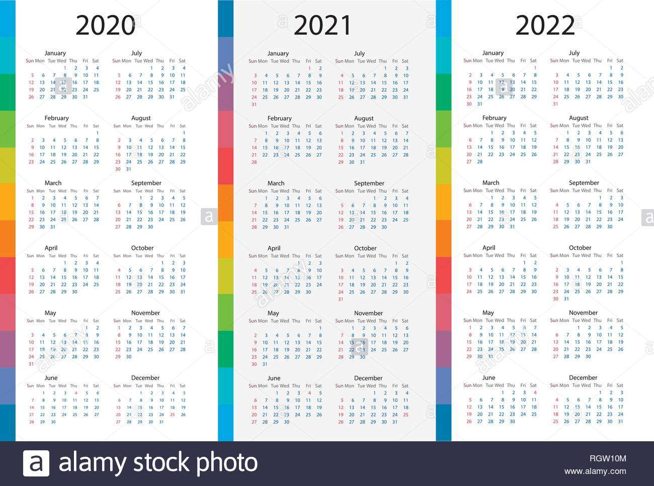 Calendar Template Set For 2020, 2021, 2022 Years. Week regarding Three Year Calendar 2020 2021 2022