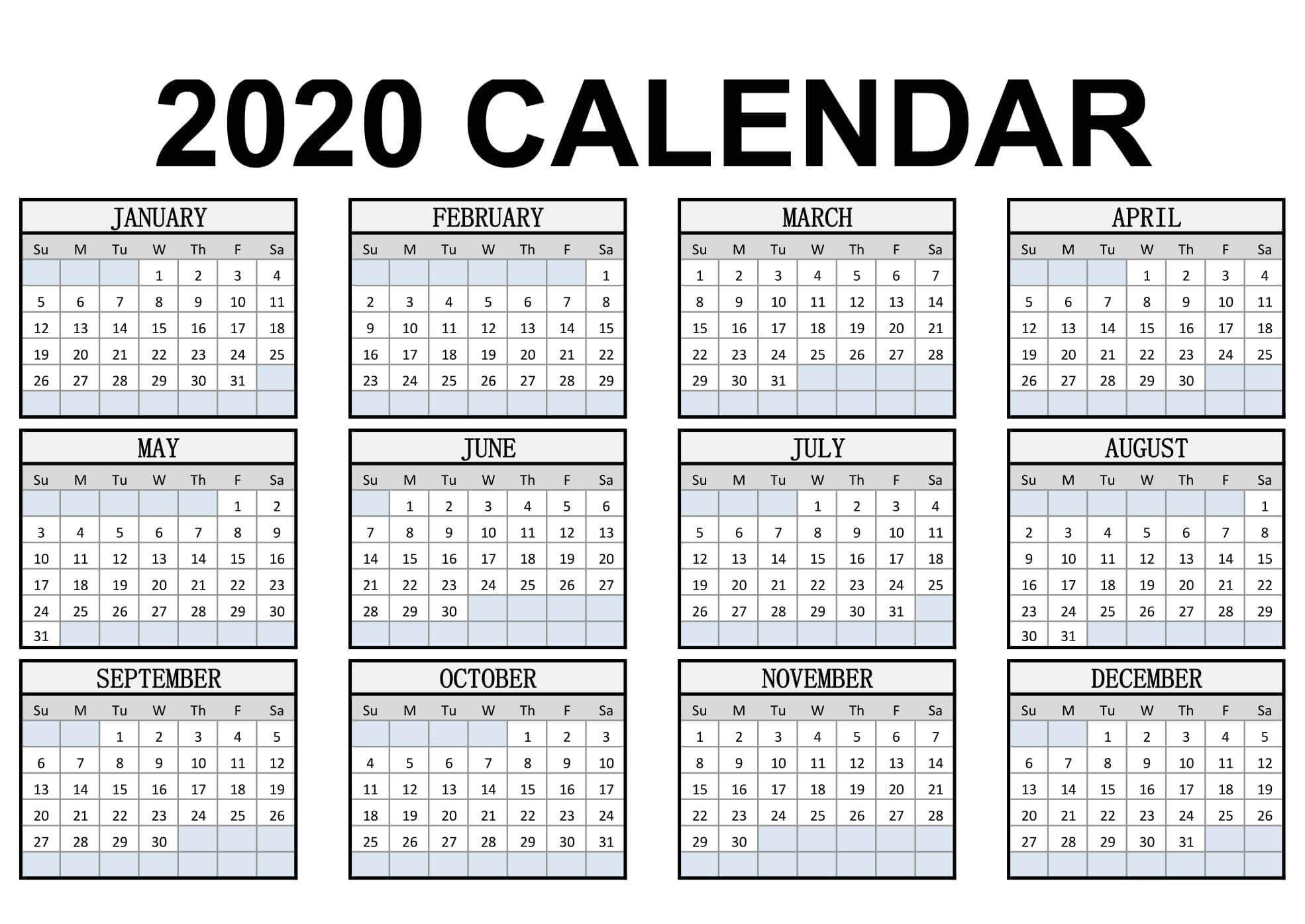 Calendar Year 2020 Holidays Template - 2019 Calendars For in Free Printable Yearly Planner 2020