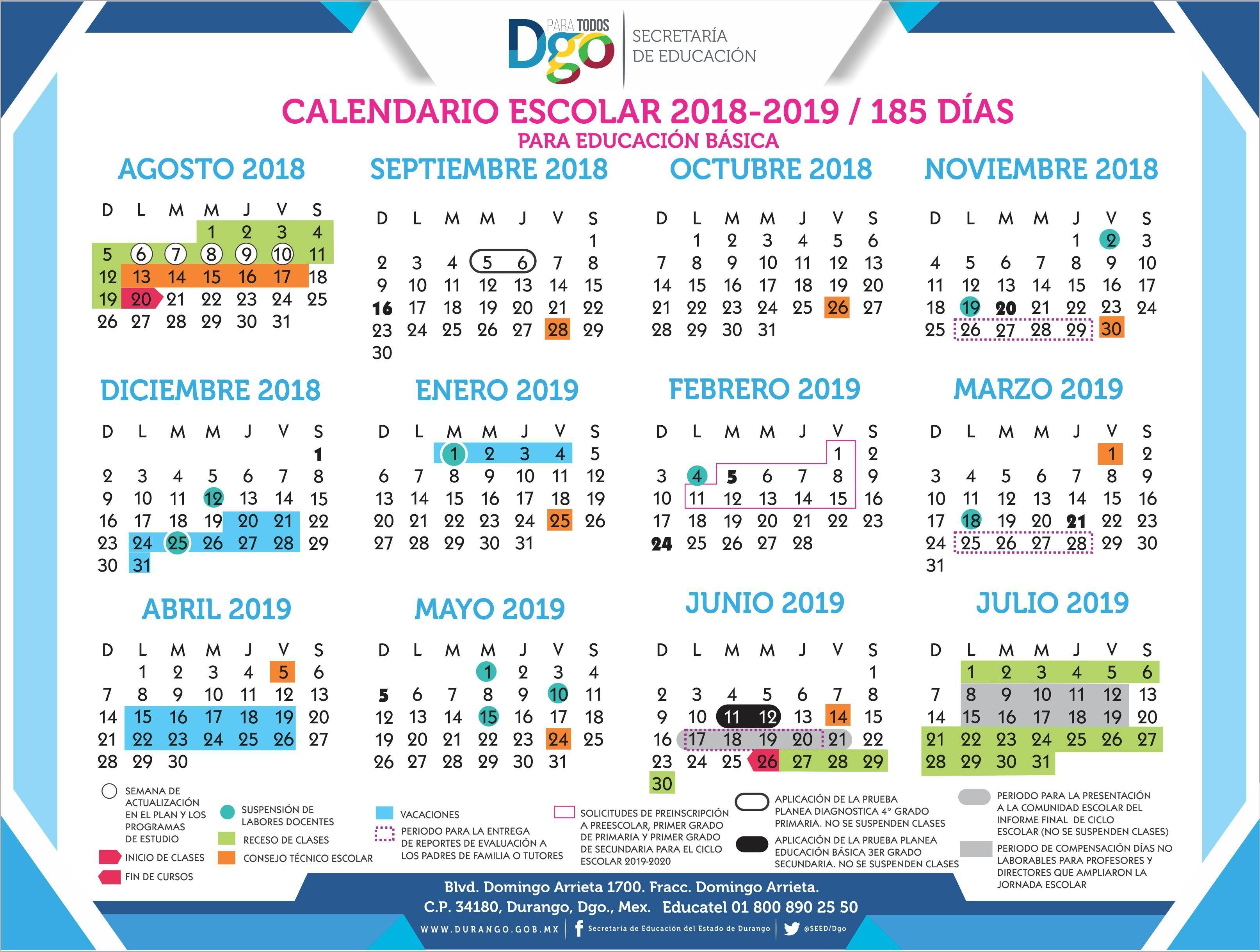 Calendario Escolar 2018-2019 - Secretaría De Educación pertaining to Template Calendario Escolar 2020