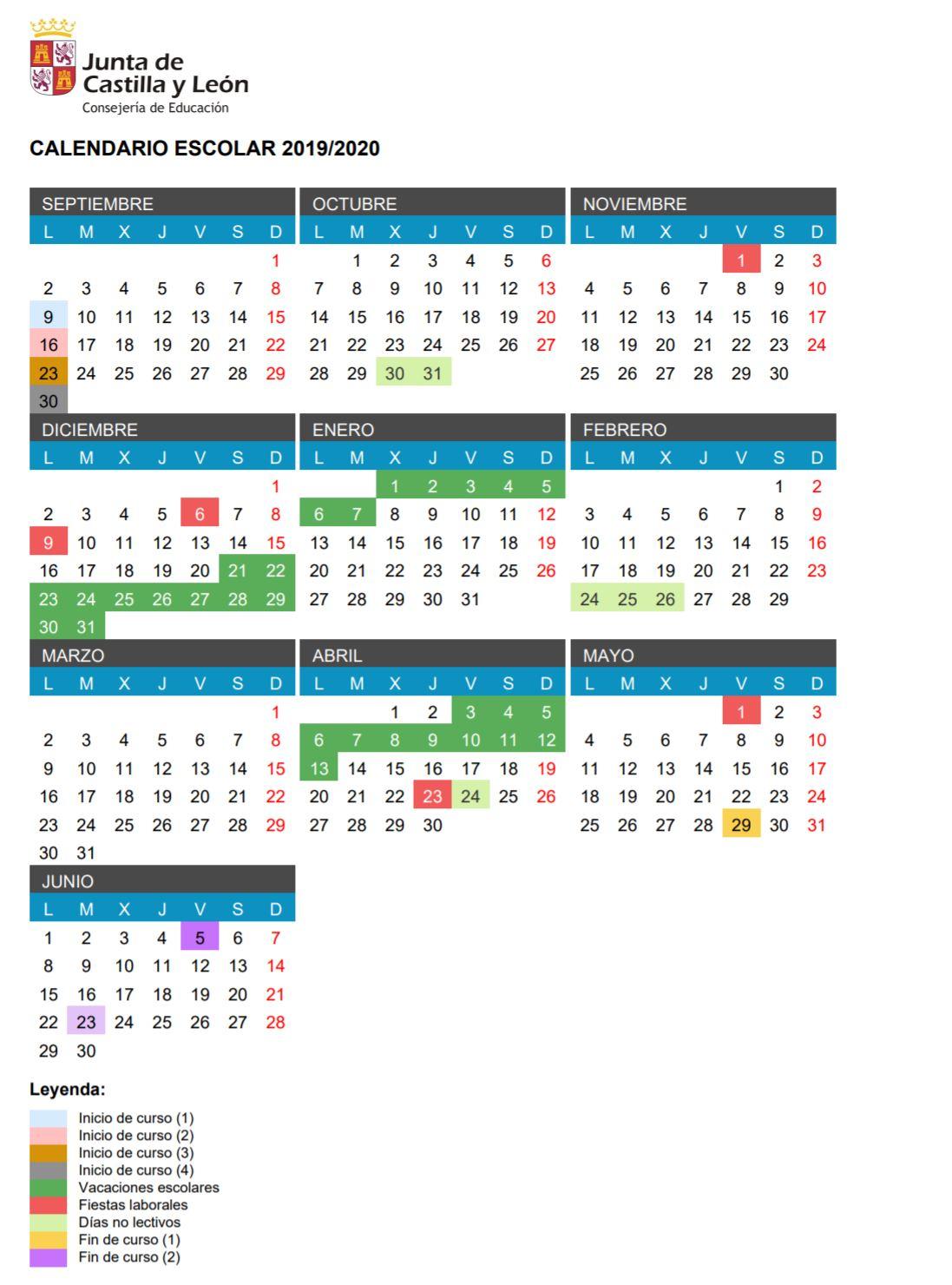 Calendario Escolar 2019 2020, Más De 100 Calendarios inside Template Calendario Escolar 2020