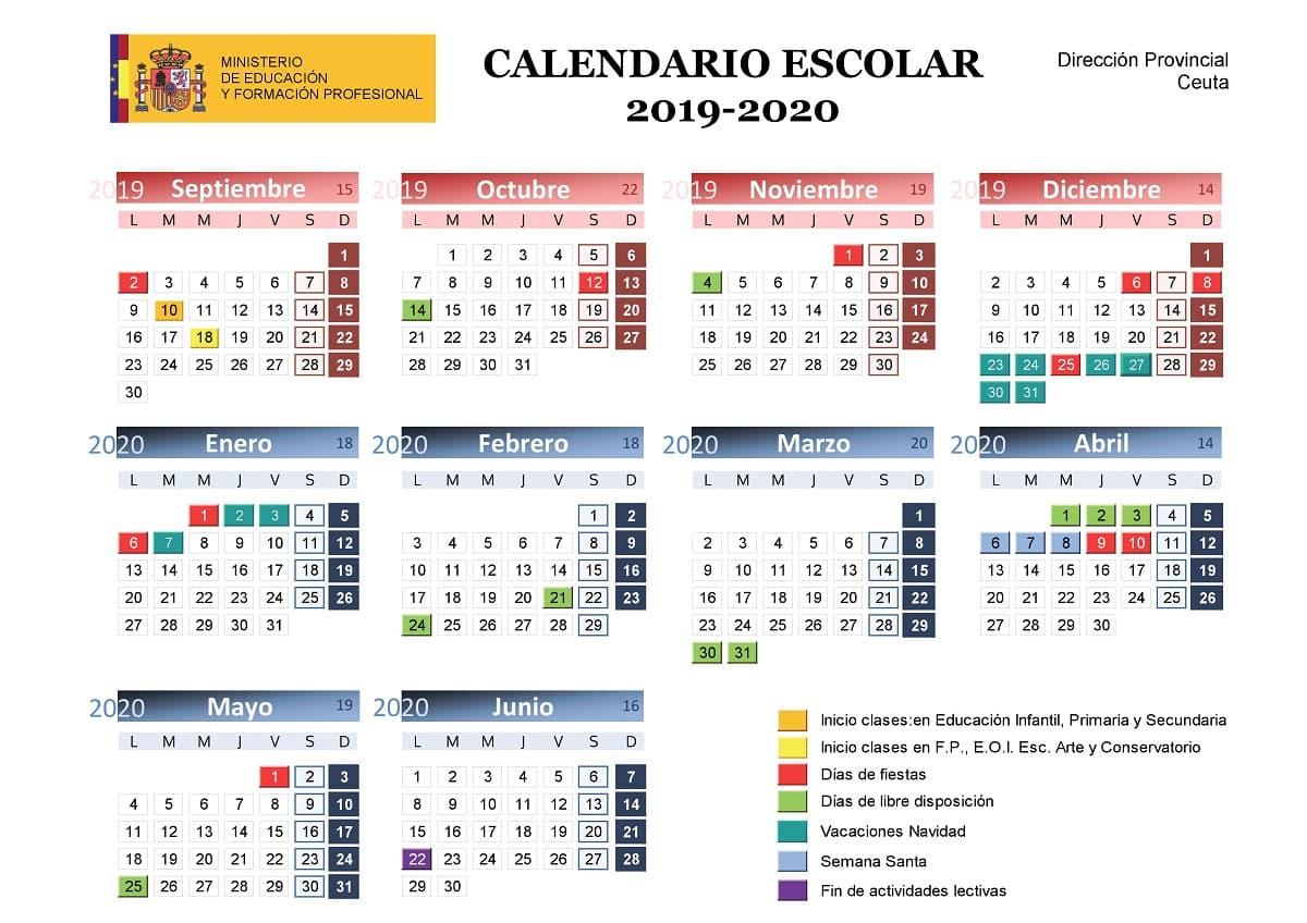 Calendario Escolar 2019 2020, Más De 100 Calendarios with regard to Template Calendario Escolar 2020