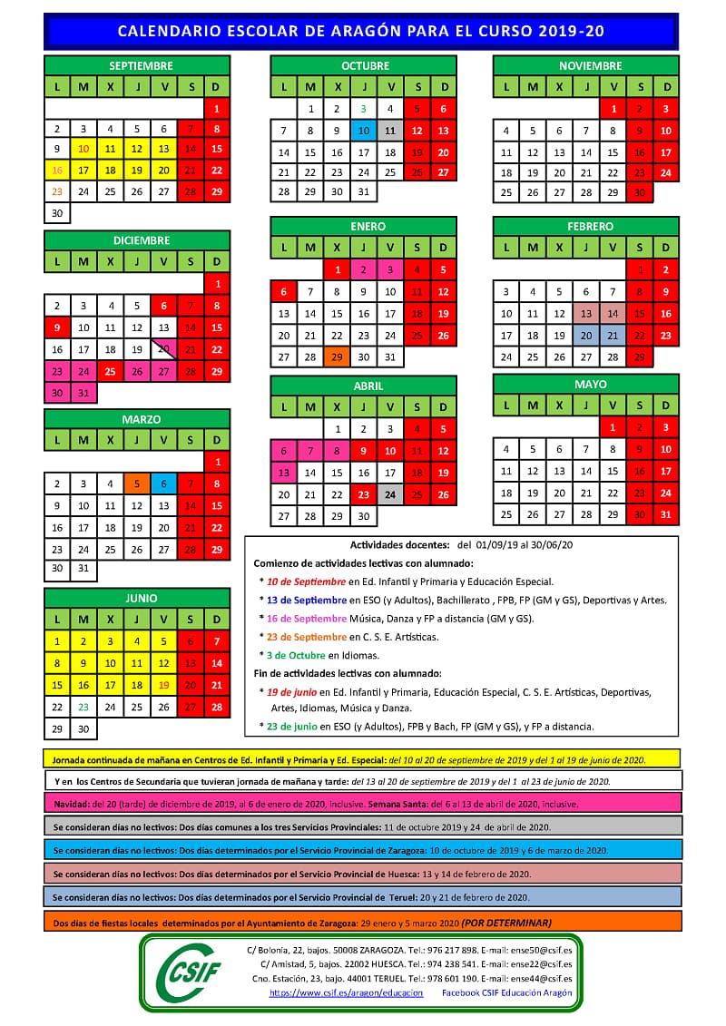 Calendario Escolar 2019-2020 Para Descargar, Fechas Y within Template Calendario Escolar 2020