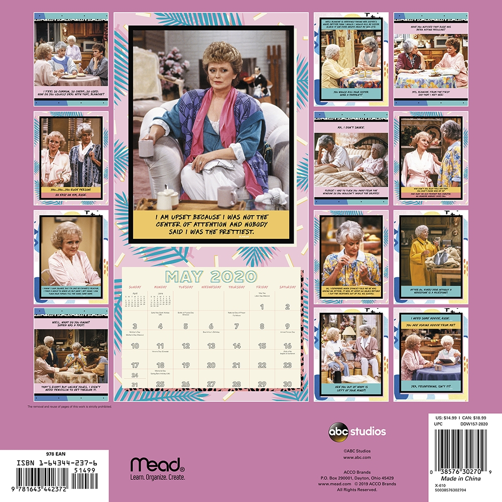 Calendars Golden Girls Wall Calendar - Full Color Pages All Major &  Significant Holidays inside Calendar Girl 2020