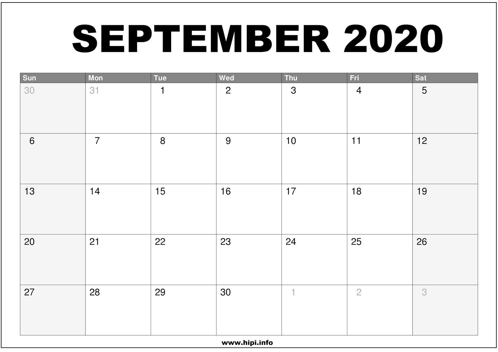 Calendars Printable / Twitter Headers / Facebook Covers pertaining to Free Printable Monthly Calendar September 2020