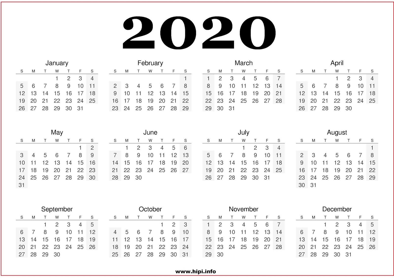 Calendars Printable / Twitter Headers / Facebook Covers regarding Yearly Printable Calendar 2020