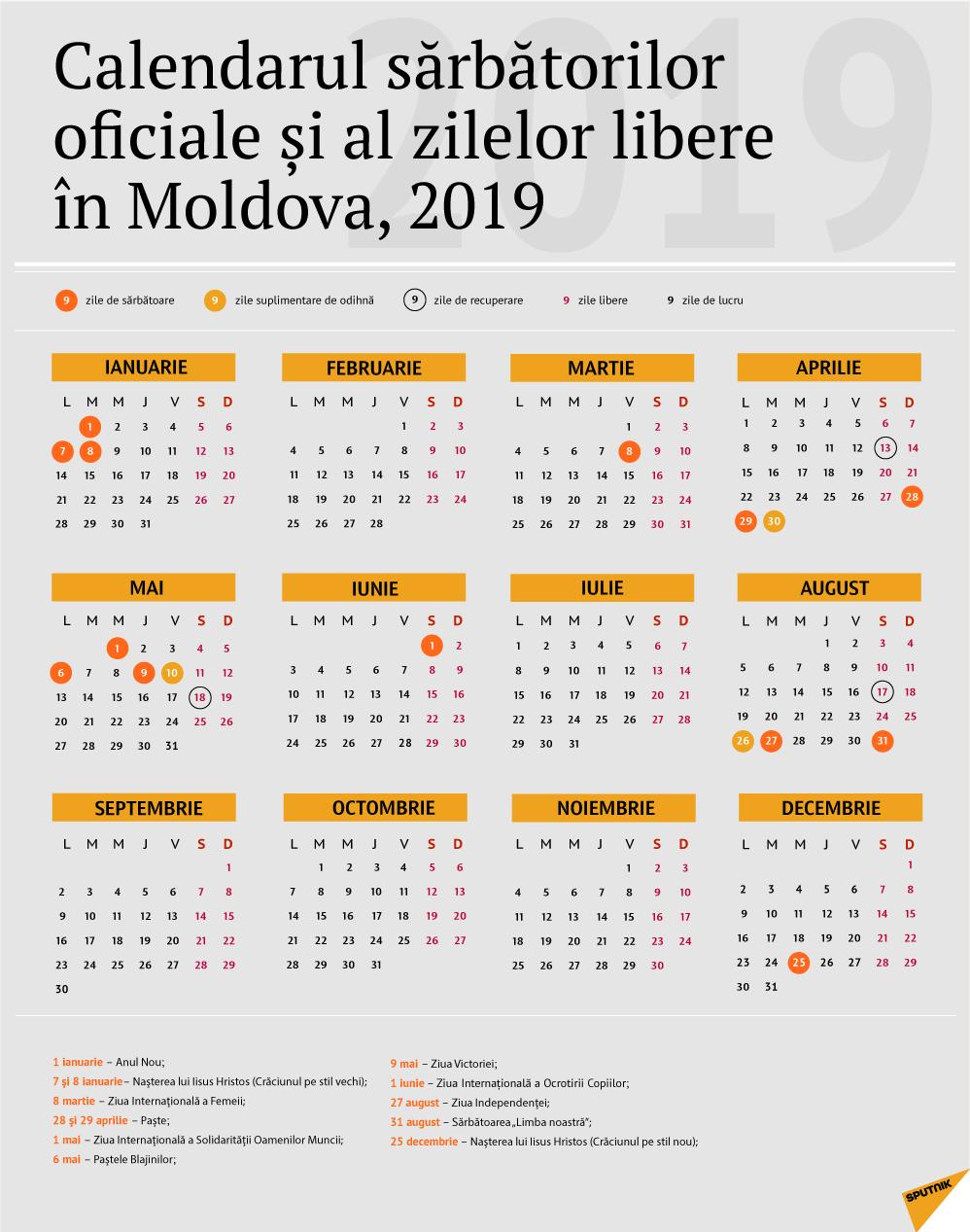 Calendarul Zilelor De Odihnă În Moldova Pentru Anul 2019 regarding Calendar 2020 Zile Libere