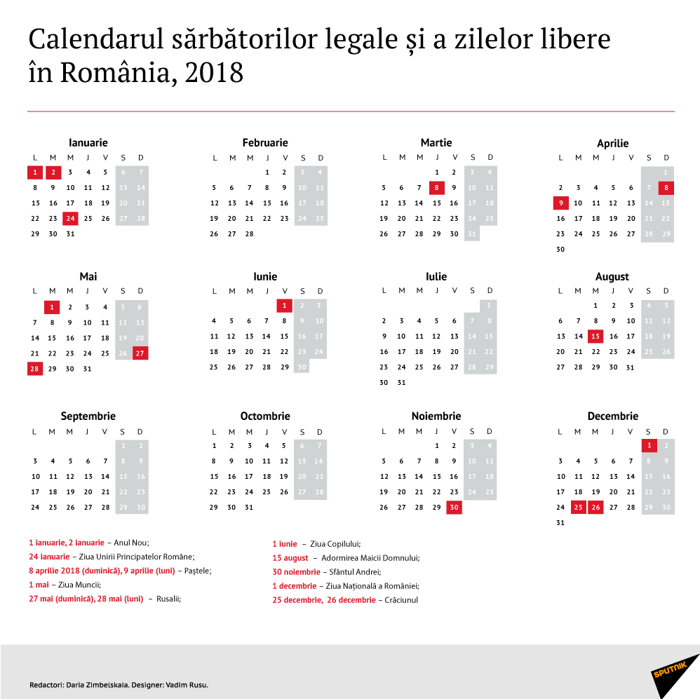 Calendarul Zilelor Libere În 2018, Decretate Prin Lege În for Calendar 2020 Zile Libere