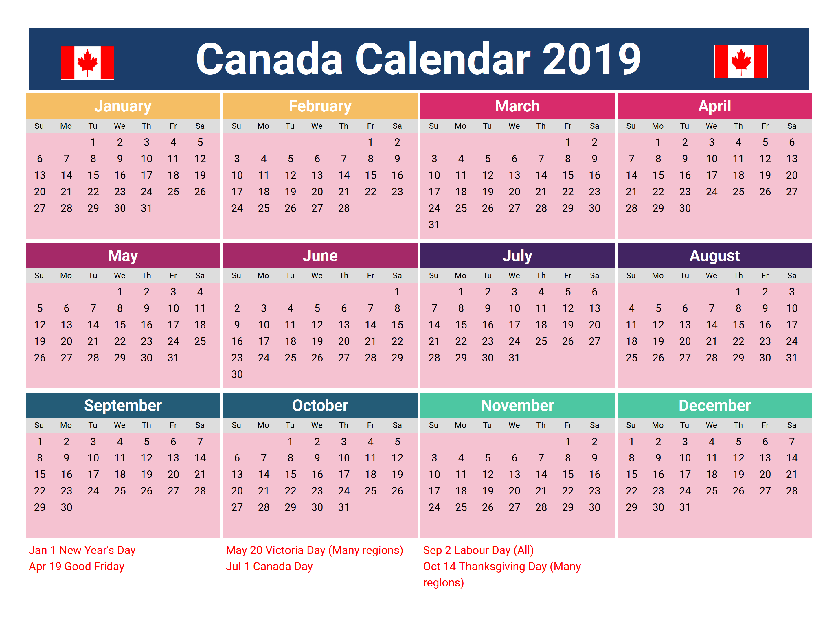 Canada 2019 Holidays Printable Calendar | 2019 Calendar for Printable Canadian Calendar With Holidays