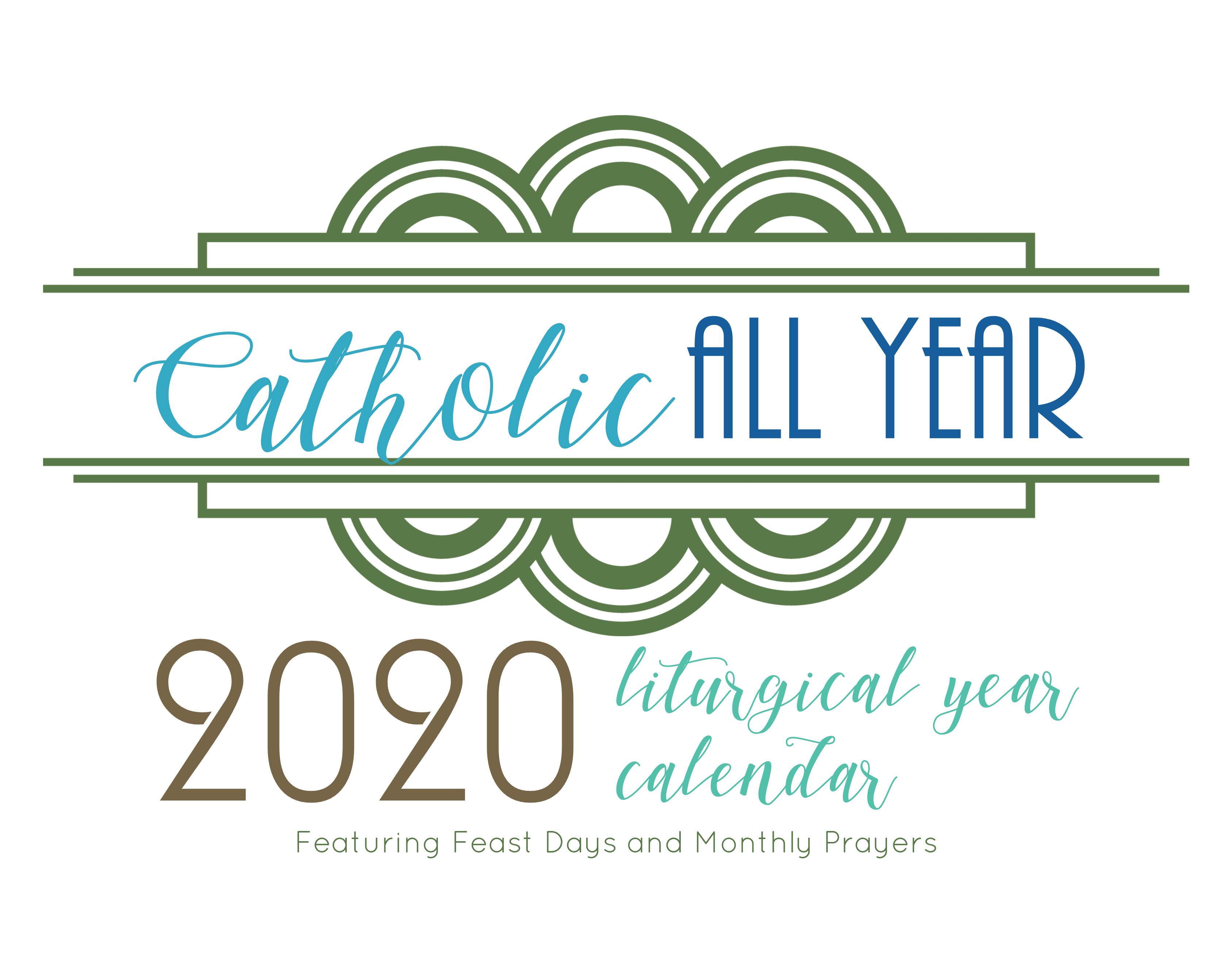 Catholic All Year 2020 Monthly Prayers Liturgical Year Calendar *digital  Download* within 2020 Catholic Liturgical Calendar Pdf