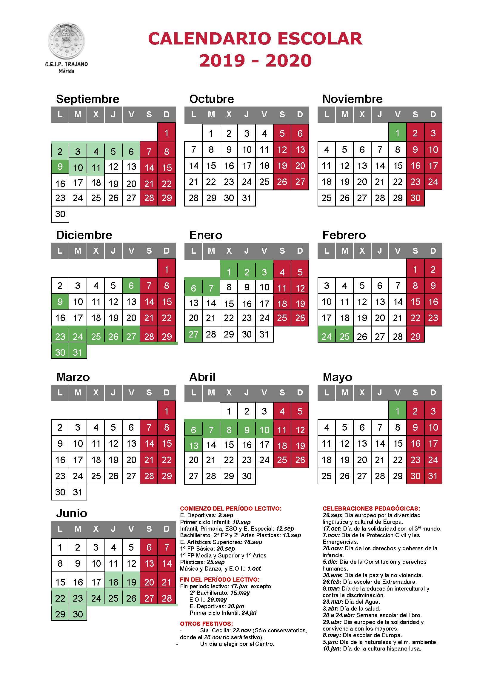 Ceip Trajano - Nuestro Centro pertaining to Template Calendario Escolar 2020