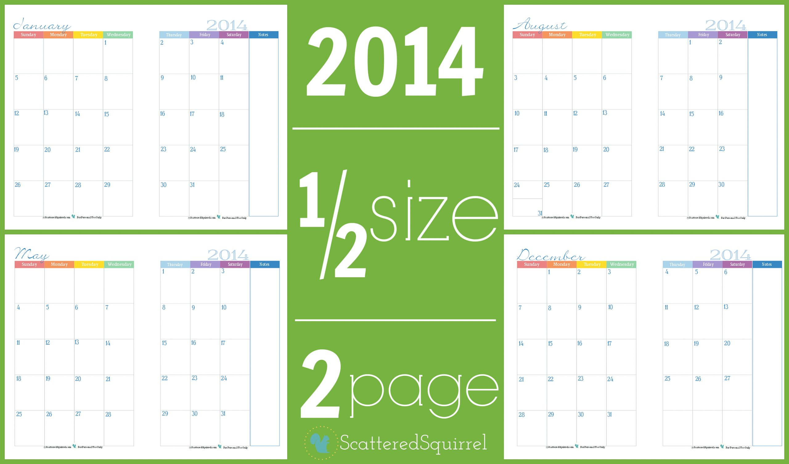 Color Pages ~ Two Page Monthlylendar Half Sizelendars Part in Half Page 2020 Calender
