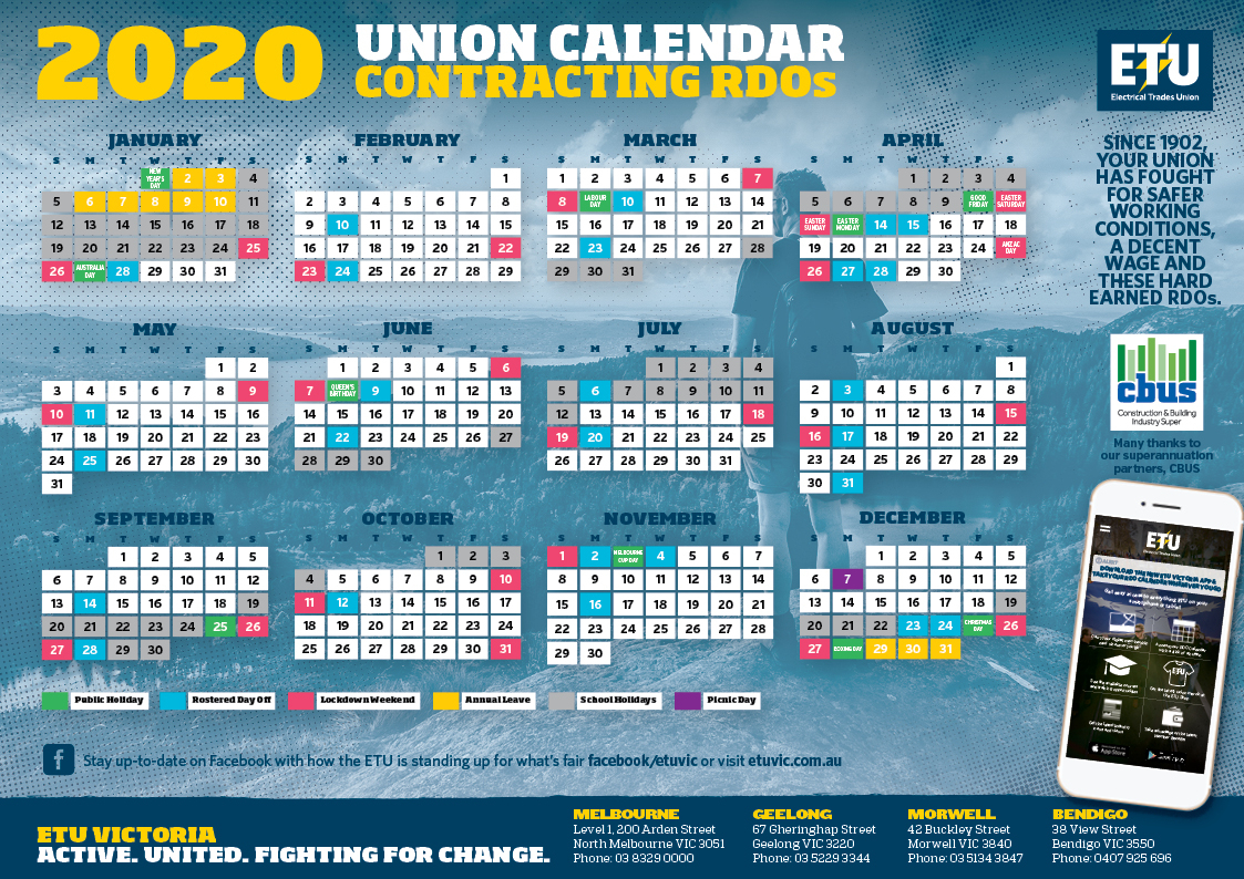 Contracting Rdo Calendar within Qld School Calendar 2020 Printable
