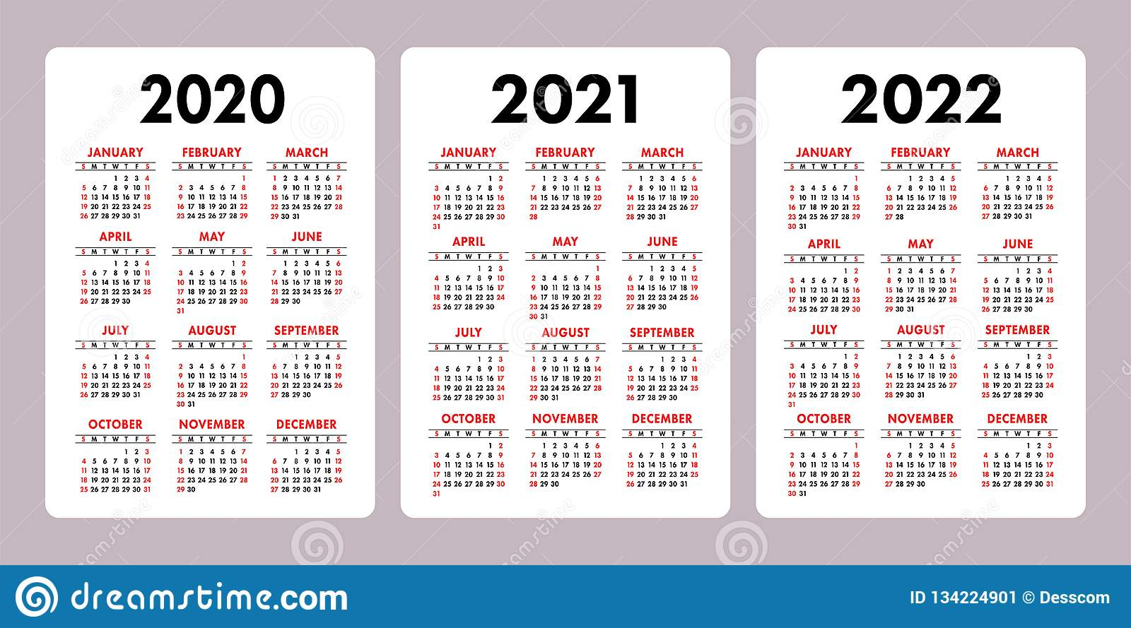Календарь 2020, 2021, 2022 Лет Вертикальный Шаблон Дизайна throughout Three Year Calendar 2020 2021 2022