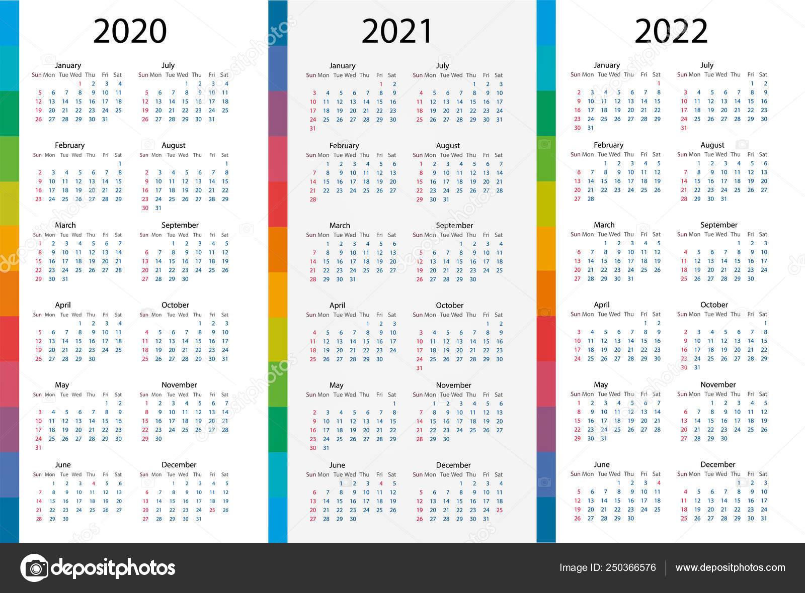 Календарь Набор Шаблонов Для 2020, 2021, 2022 Годы throughout 2 Year Calendar Template 2020 2021