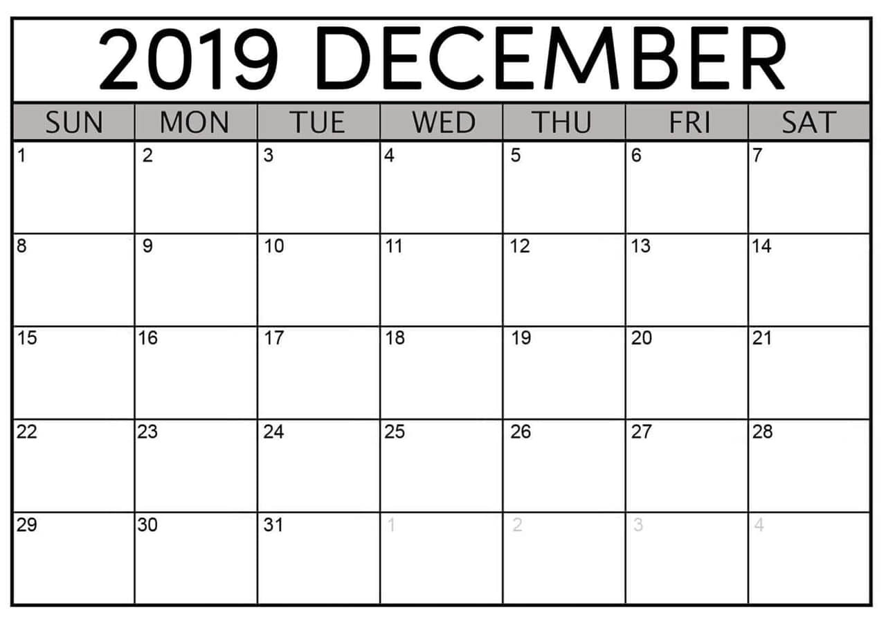 December 2019 Printable Calendar Free Download - Latest intended for Small Monthly Calendar Printable 2020 October