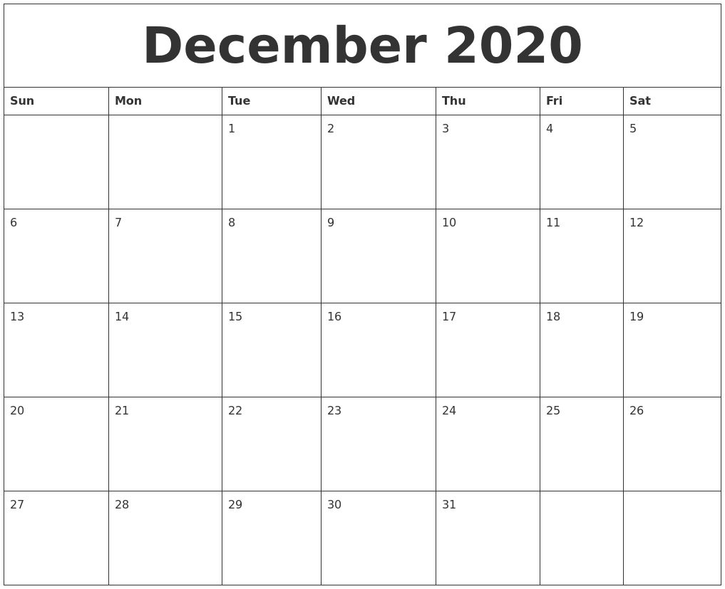 December 2020 Month Calendar Template for October To December 2020 Calendar