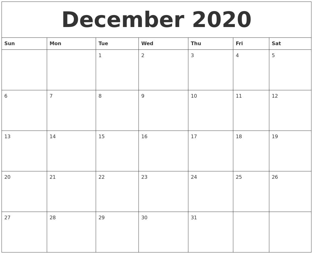 December 2020 Month Calendar Template for October To December 2020 Calendar