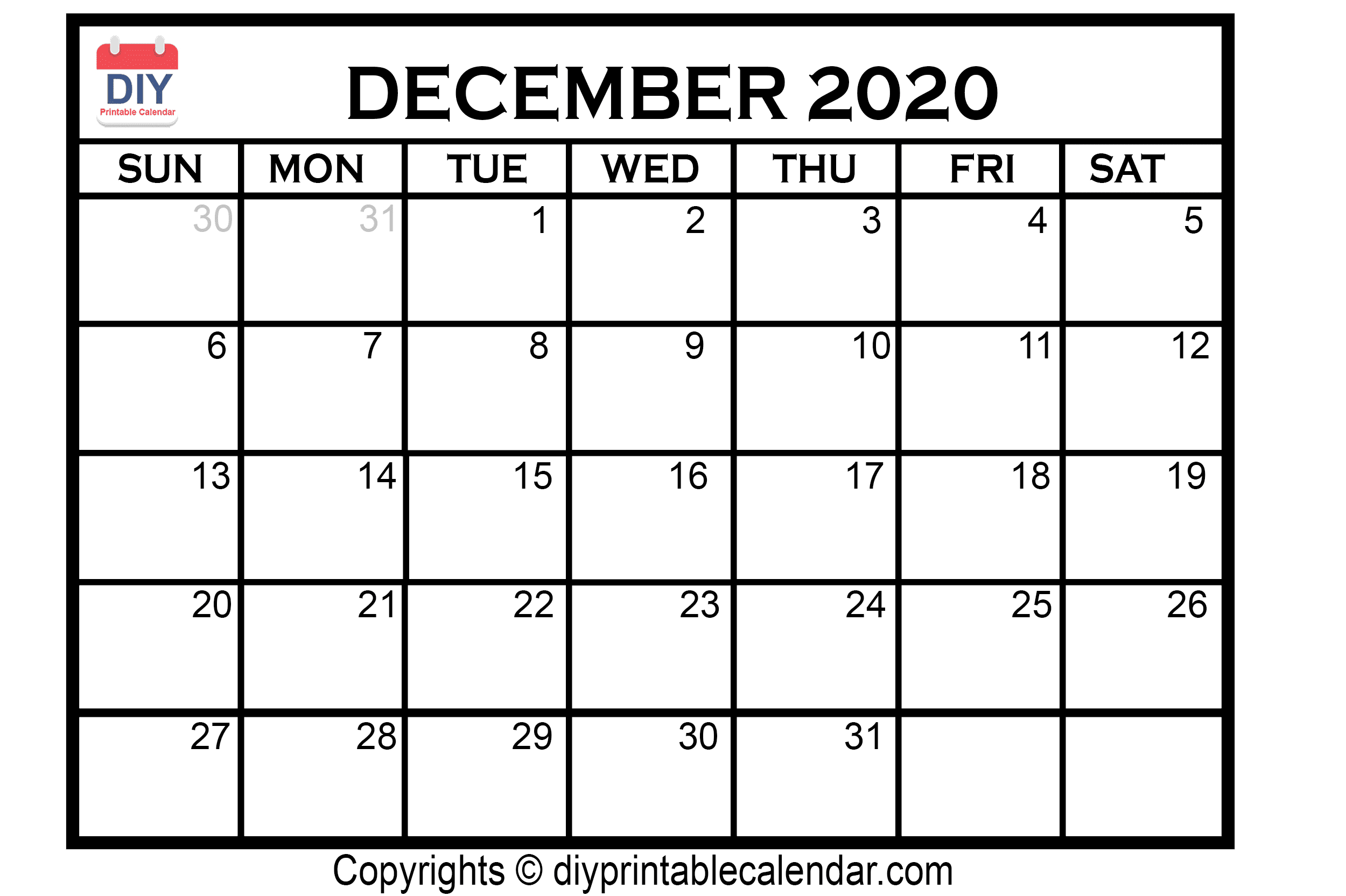 December 2020 Printable Calendar Template for 2020 Calendars To Print Without Downloading