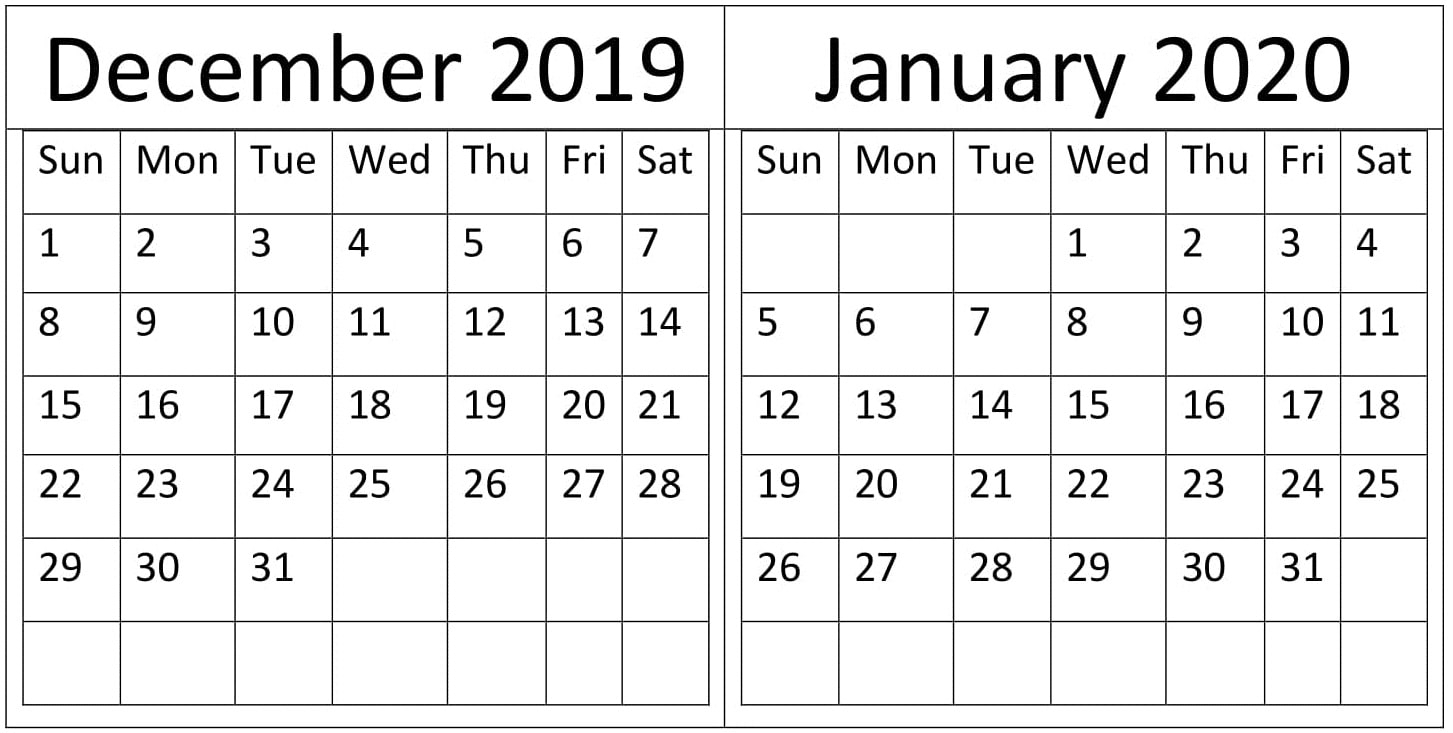 December & January 2019-20 Calendar Printable Templates in October To December 2020 Calendar