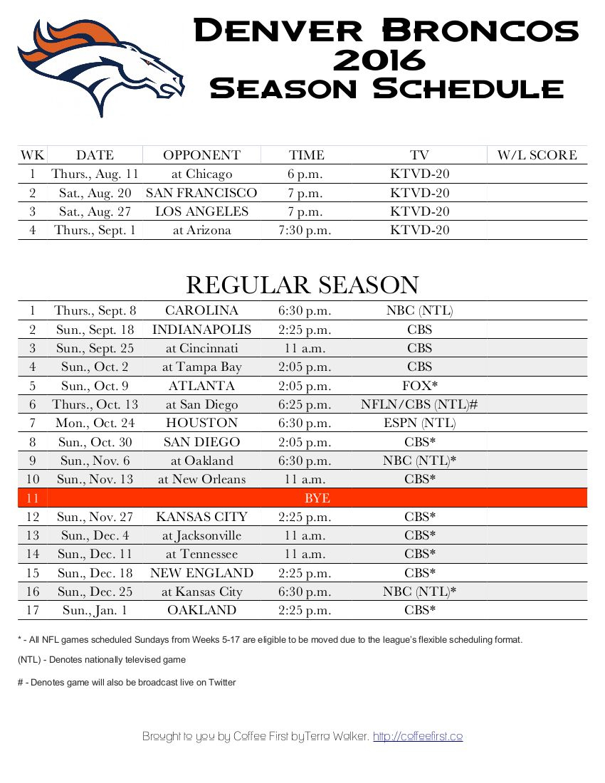Denver Broncos 2016 Season Schedule - Free Printable Score within Free Printable Nfl Season Schedule