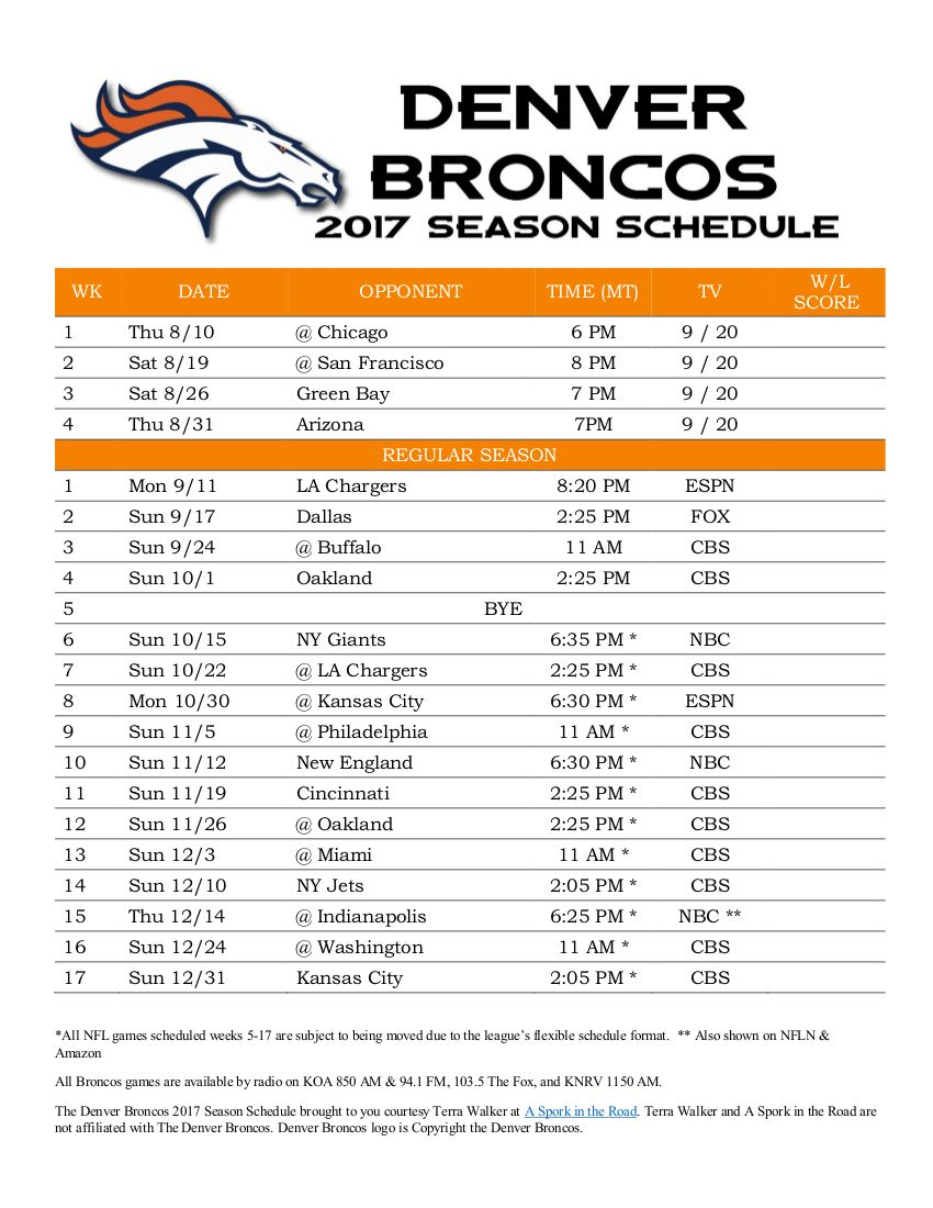 Denver Broncos 2017 Season Schedule - Free Printable regarding Free Printable Nfl Season Schedule