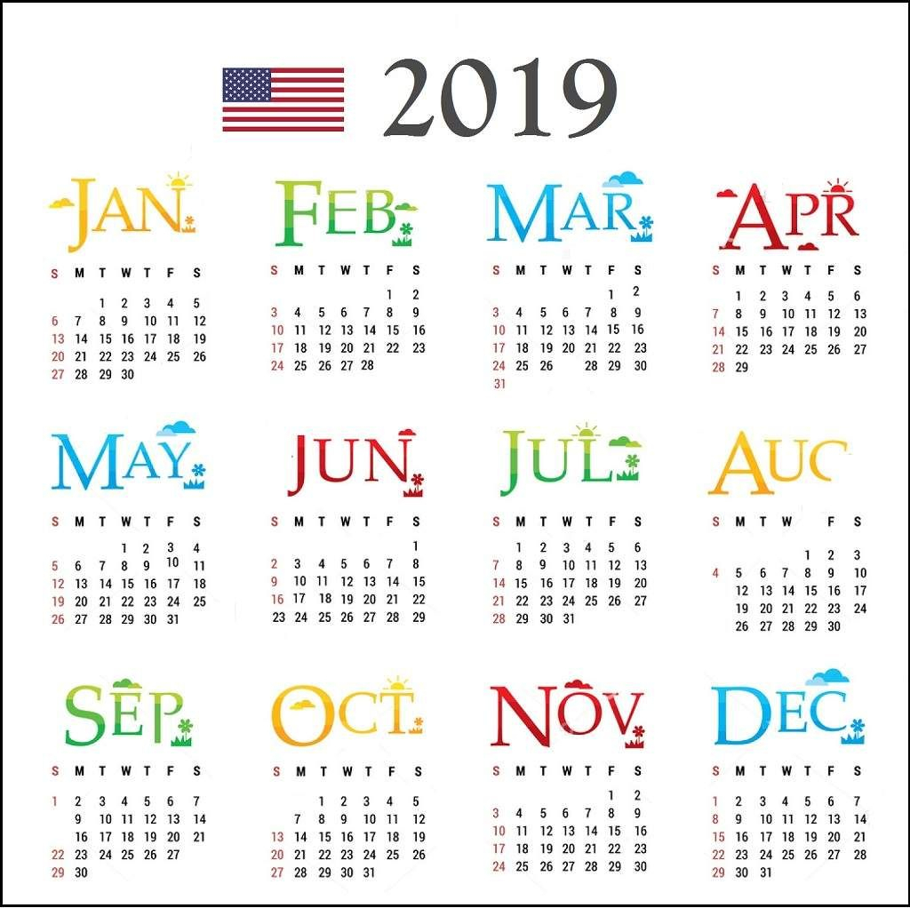 Download 2019 Calendar With Colorful Design And Holidays In with Calendar At A Glance With Usa Holidays For 2020
