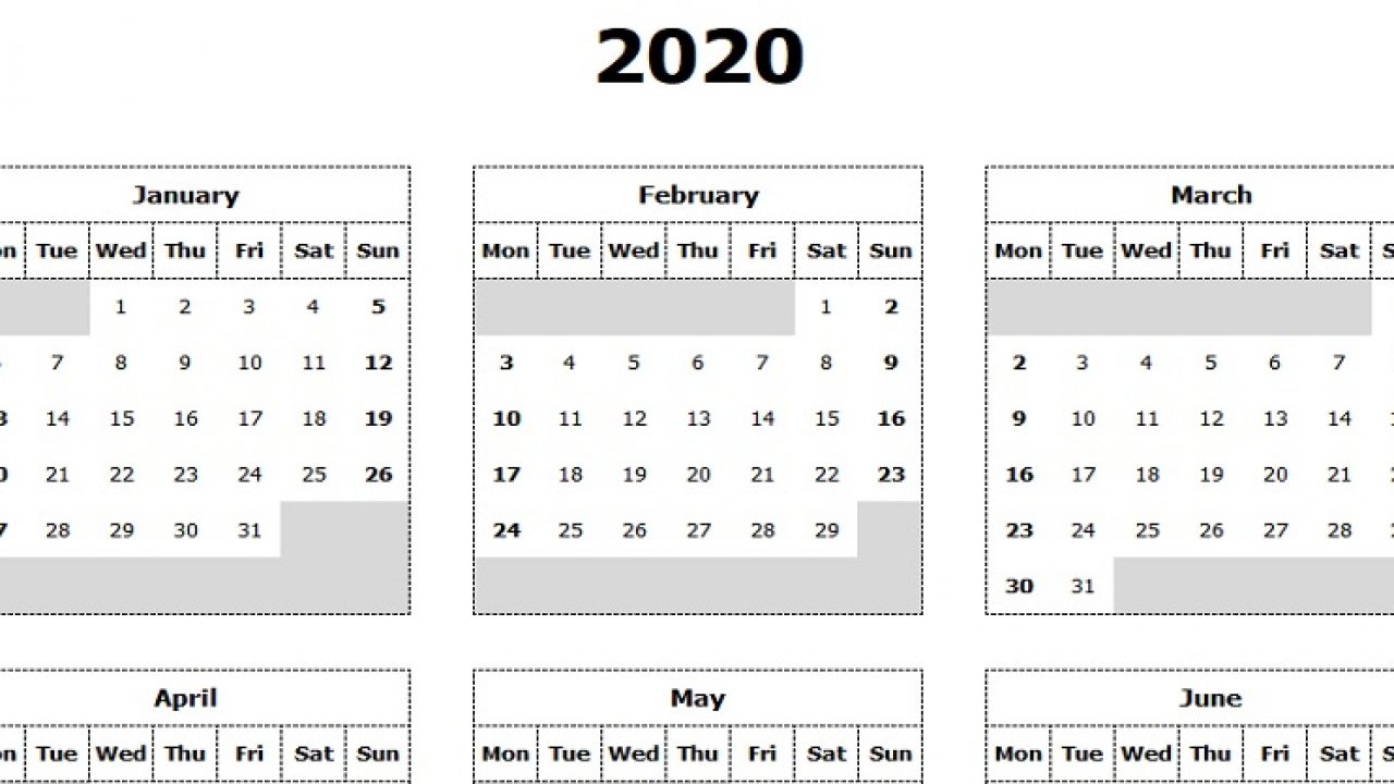 Download 2020 Yearly Calendar (Mon Start) Excel Template for 2020 Monday Through Sunday Calendar Template