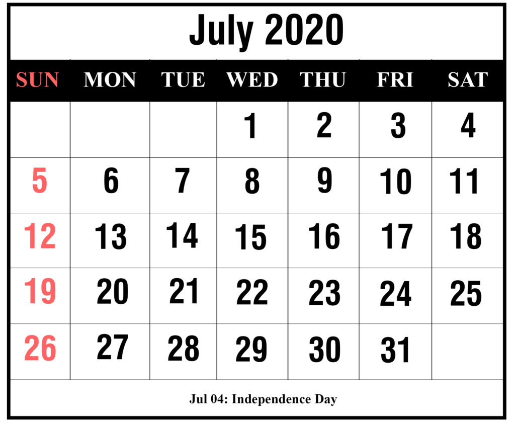 ❤️free July 2020 Printable Calendar Templates [Pdf, Excel within Festive Printable Calendar 2020