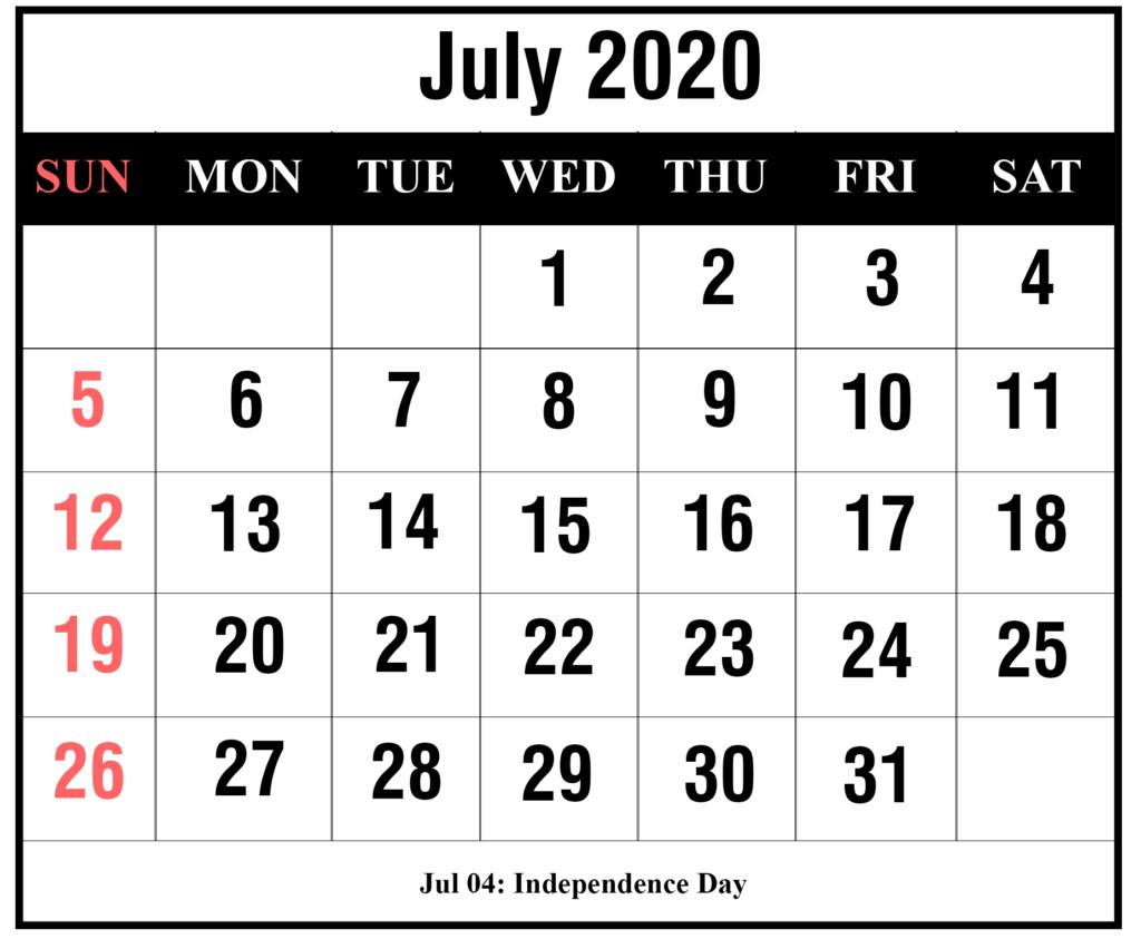 ❤️free July 2020 Printable Calendar Templates [Pdf, Excel within Festive Printable Calendar 2020