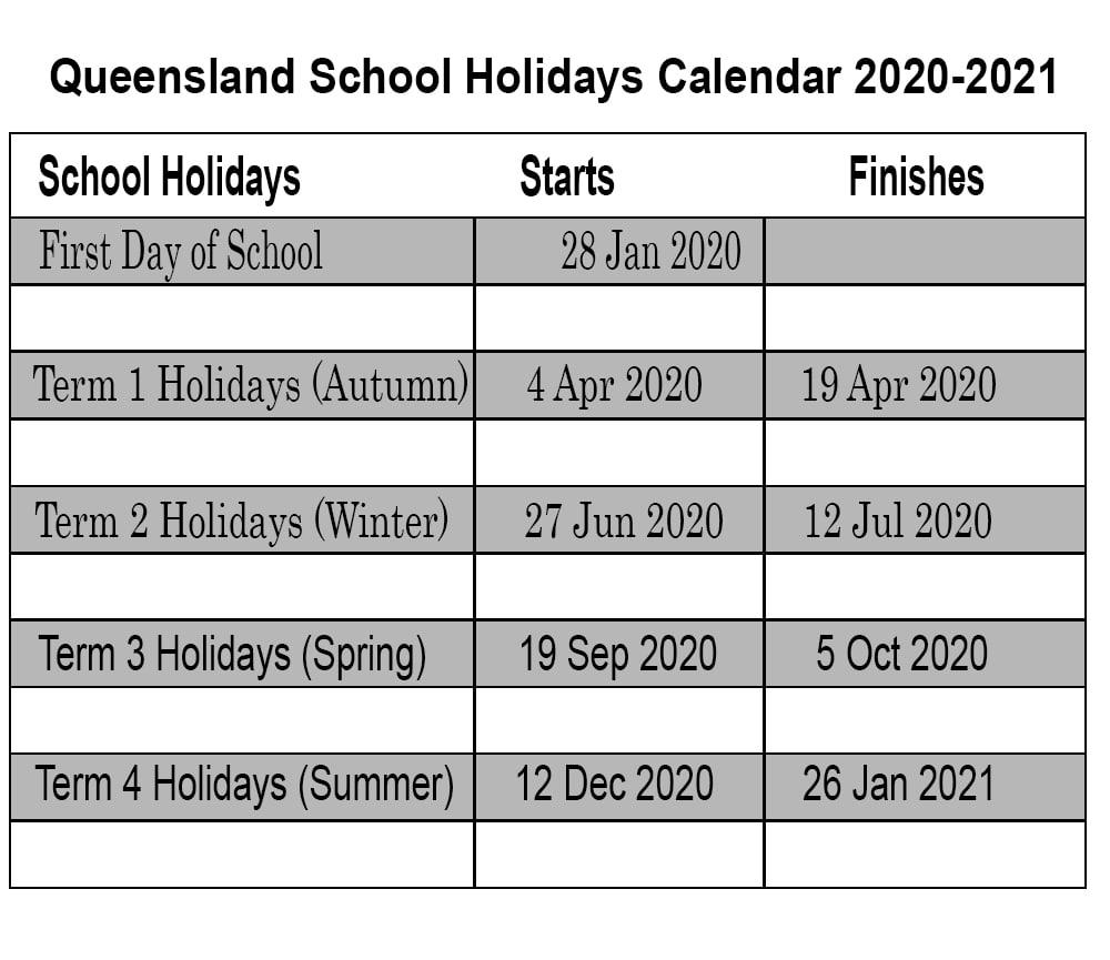 ❤️qld School Holidays 2020 Calendar Template within 2020 Qld School Calendar Printable