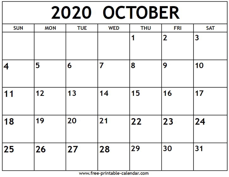 Editable October 2020 Calendar - Wpa.wpart.co intended for 2020 Printable Calendar - Sunday Thru Saturday