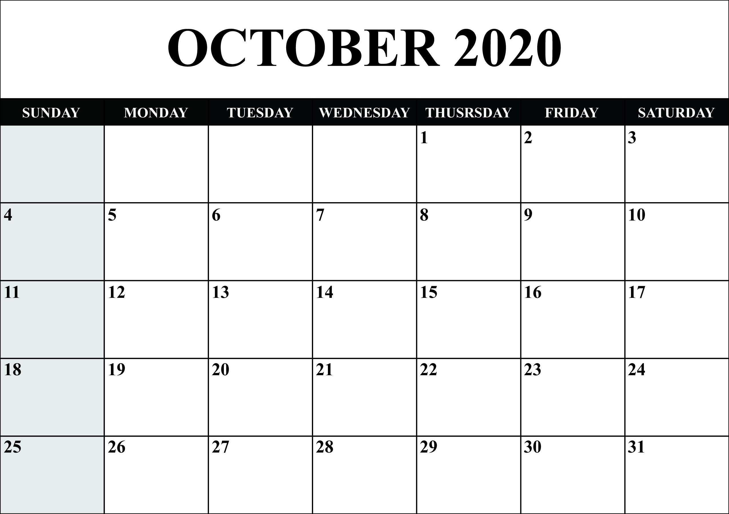 Editable October 2020 Calendar - Wpa.wpart.co throughout 2020 Printable Calendar - Sunday Thru Saturday