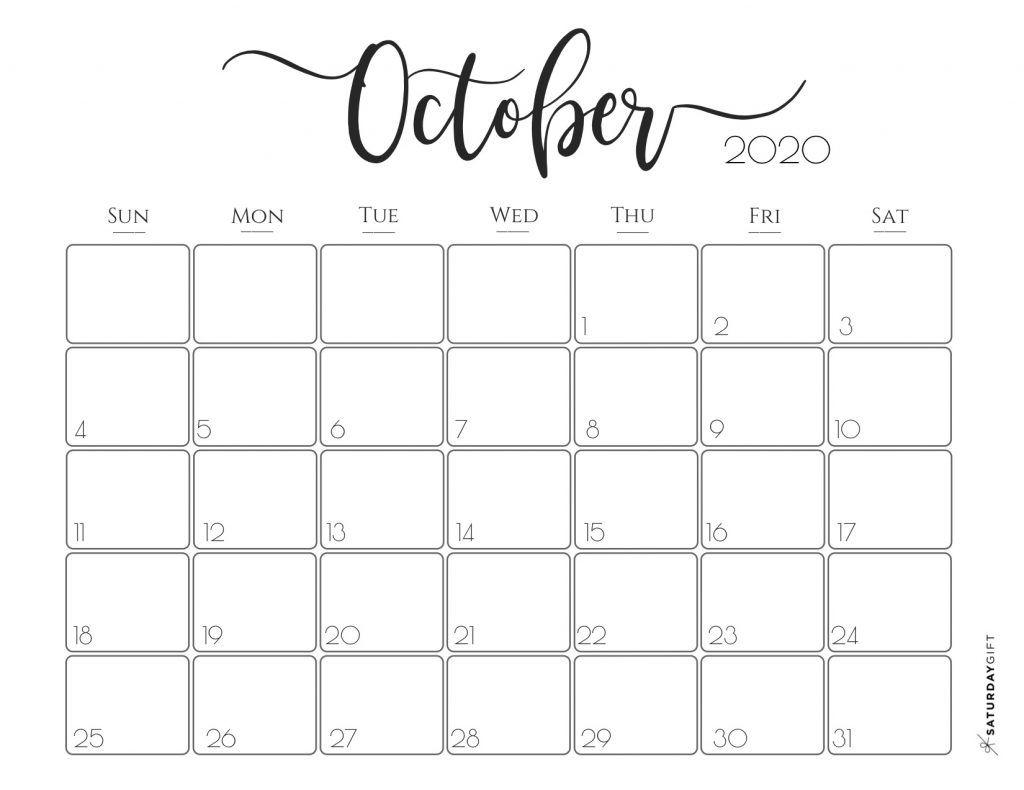 Elegant 2020 Calendar {Free Printables}   Printable Calendar in Small Monthly Calendar Printable 2020 October