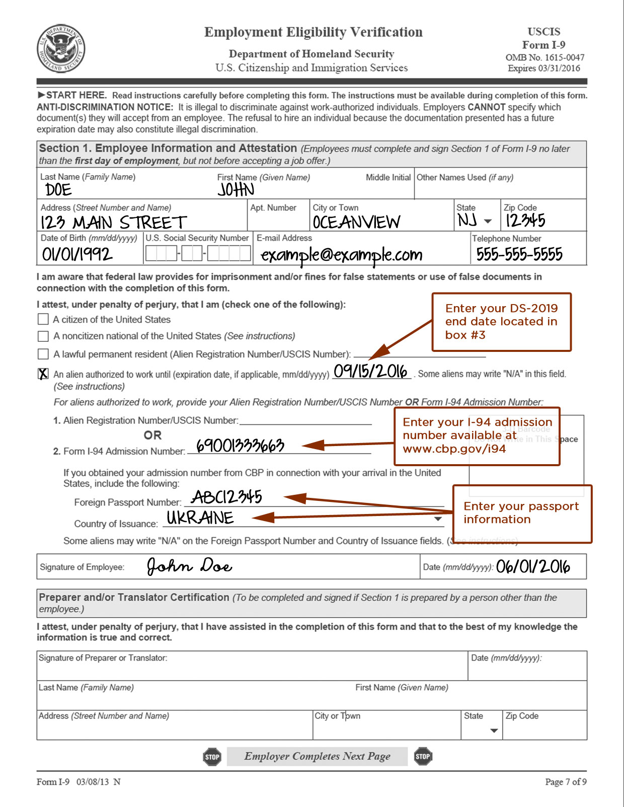 Employment Document - Wpa.wpart.co regarding Free Printable I9 Forms 2020