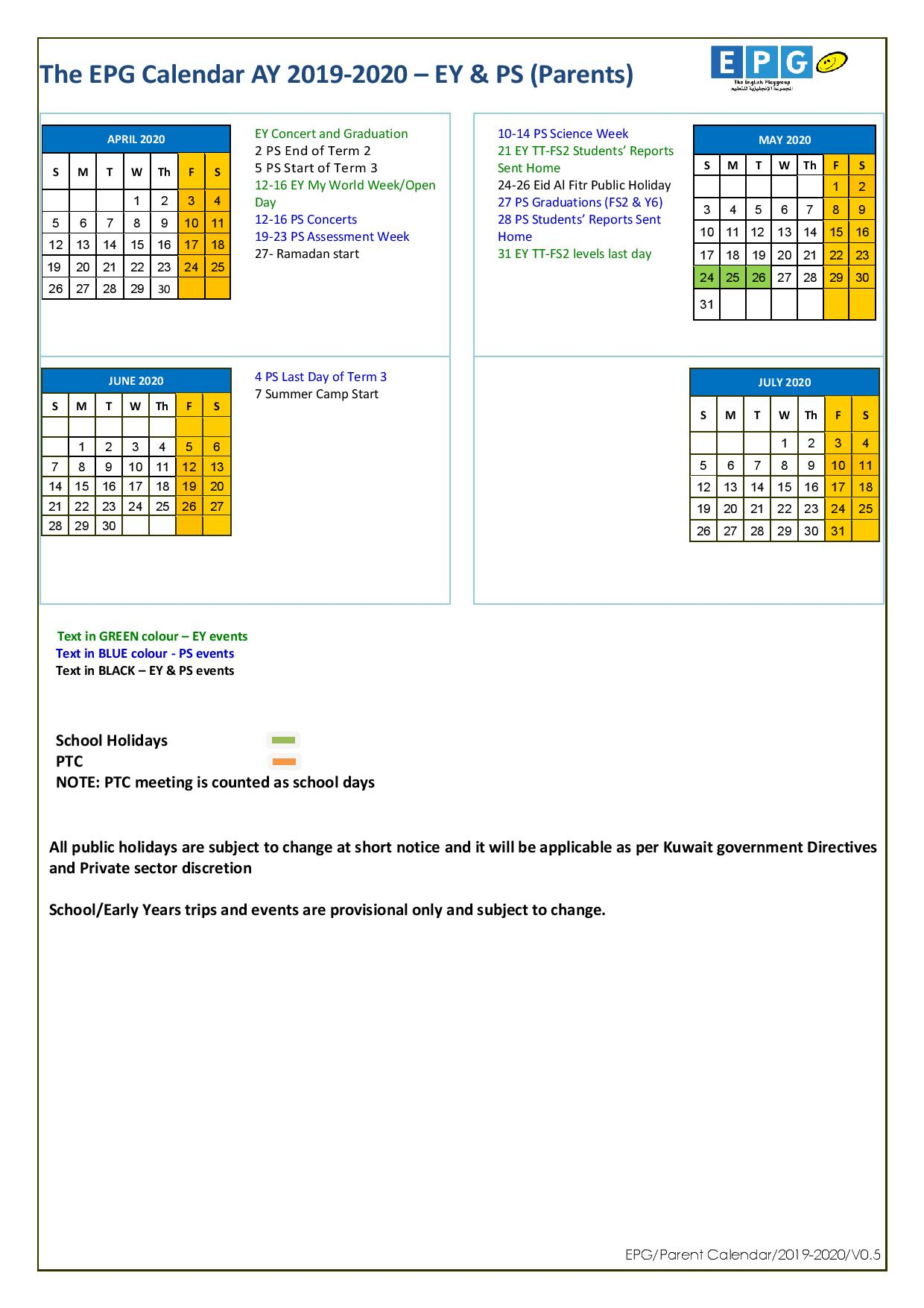 Epg-School-Calendar-Ay-2019-2020-V0.5-Parents-Page-002 - Epg intended for Kuwait 2020 Calendar