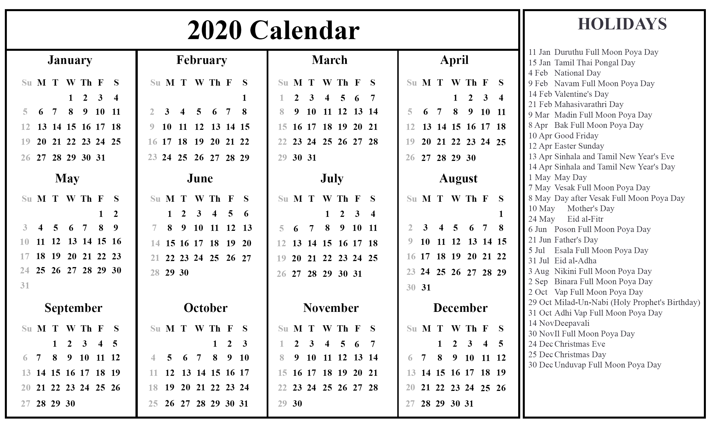 😄free Sri Lanka 2020 Calendar With Holidays In Pdf Word with regard to Festive Printable Calendar 2020