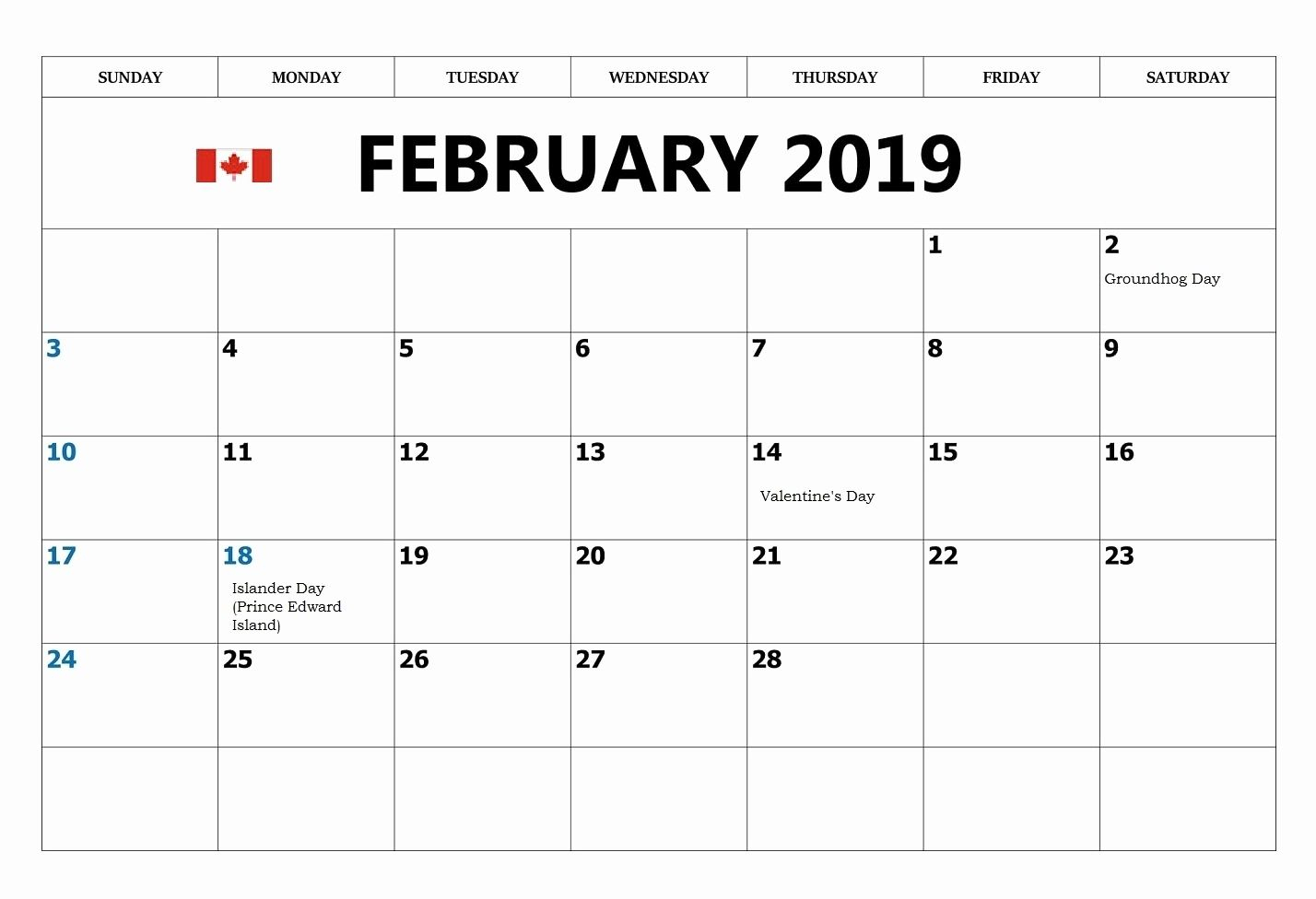 February 2019 Calendar Canada With Federal Holidays | 2019 intended for Printable Canadian Calendar With Holidays