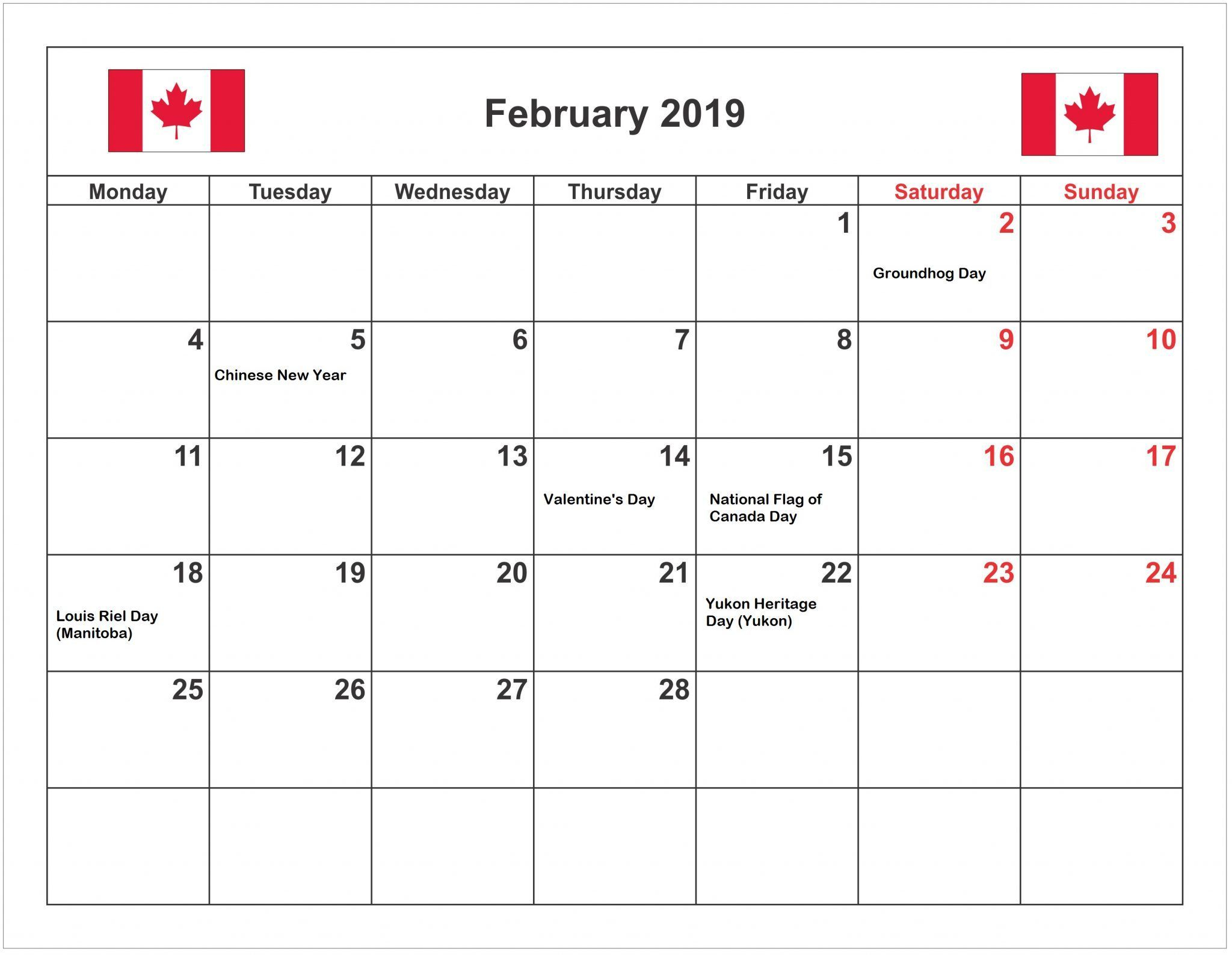 February 2019 Calendar Canada With Holidays | Canada intended for Printable Canadian Calendar With Holidays