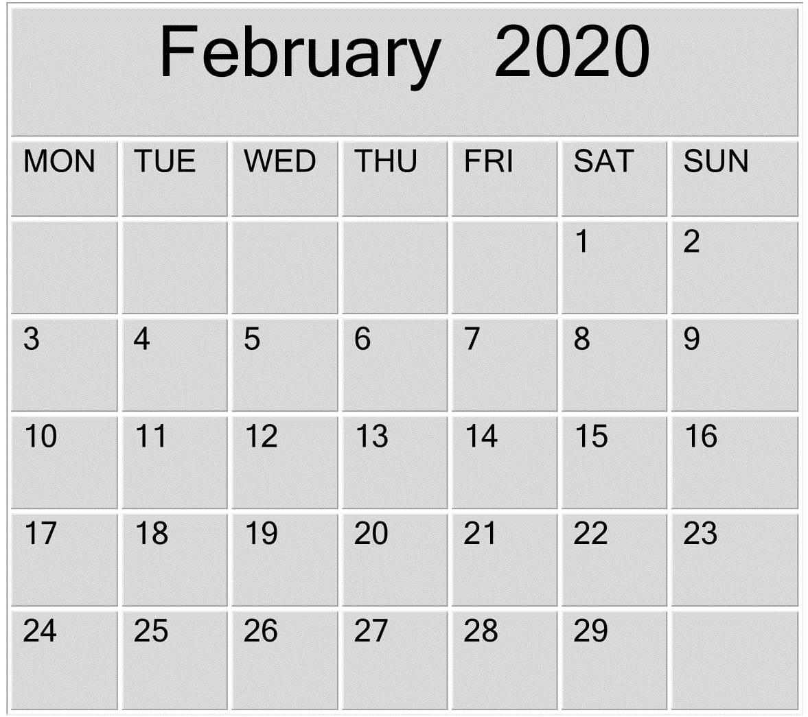 February 2020 Blank Calendar Word, Excel Template – Free inside 2020 Etited Calendar