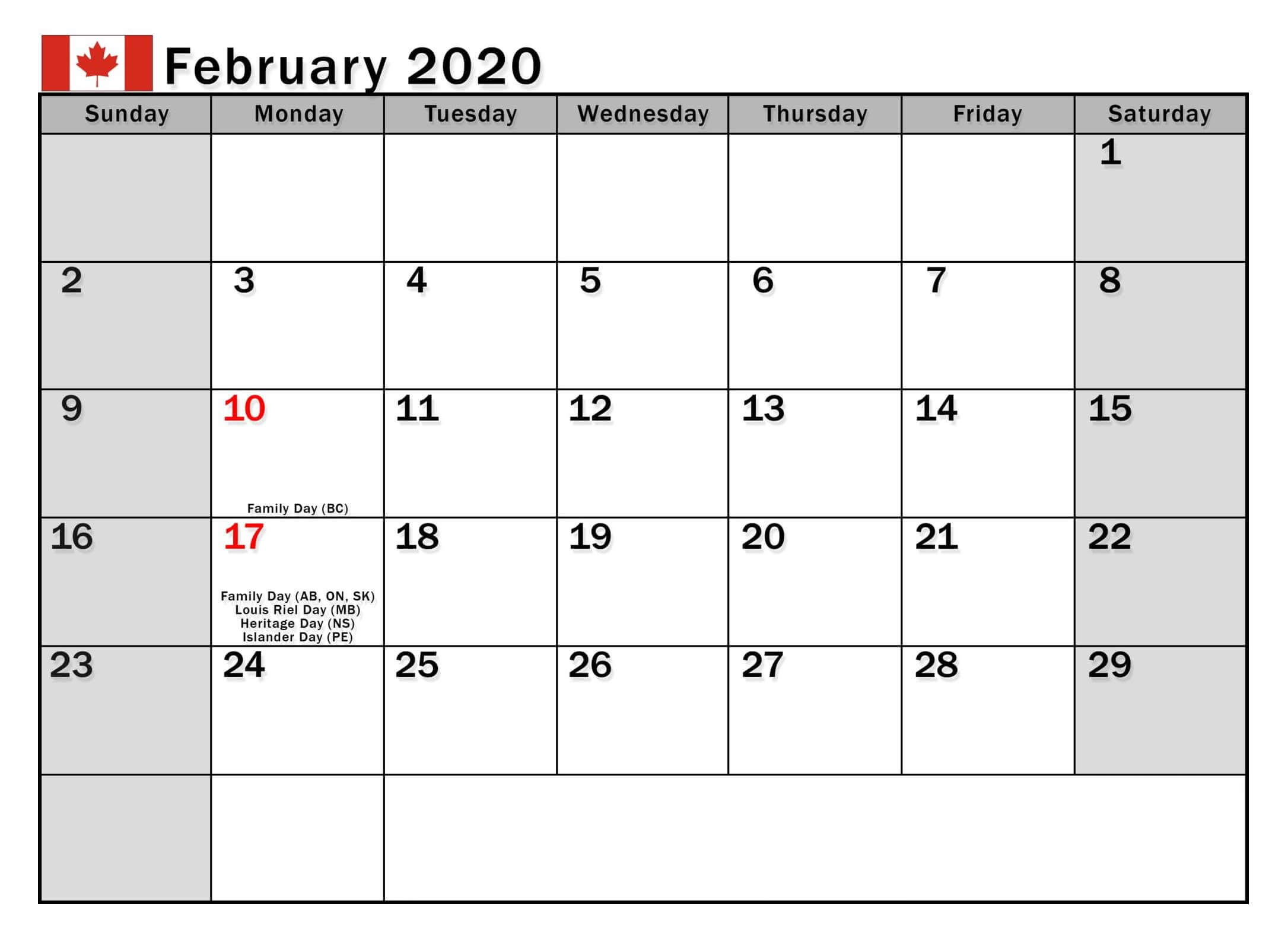 February 2020 Calendar Canada Bank Holidays - 2019 Calendars for Printable Canadian Calendar With Holidays