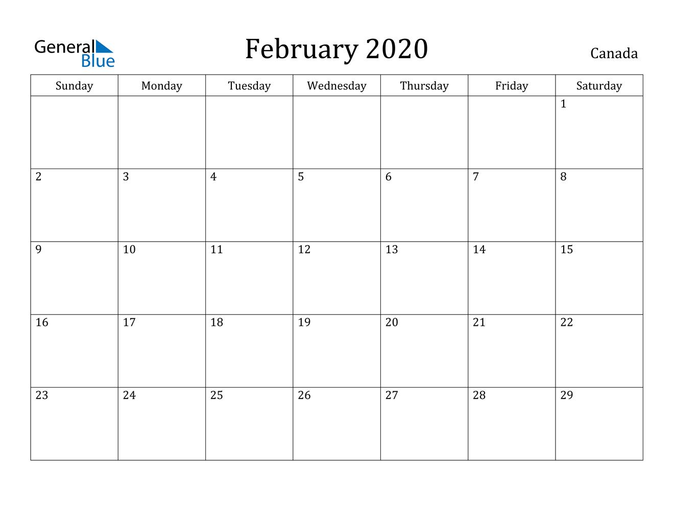 February 2020 Calendar - Canada regarding Free Printable 2020 Canadian Calendar