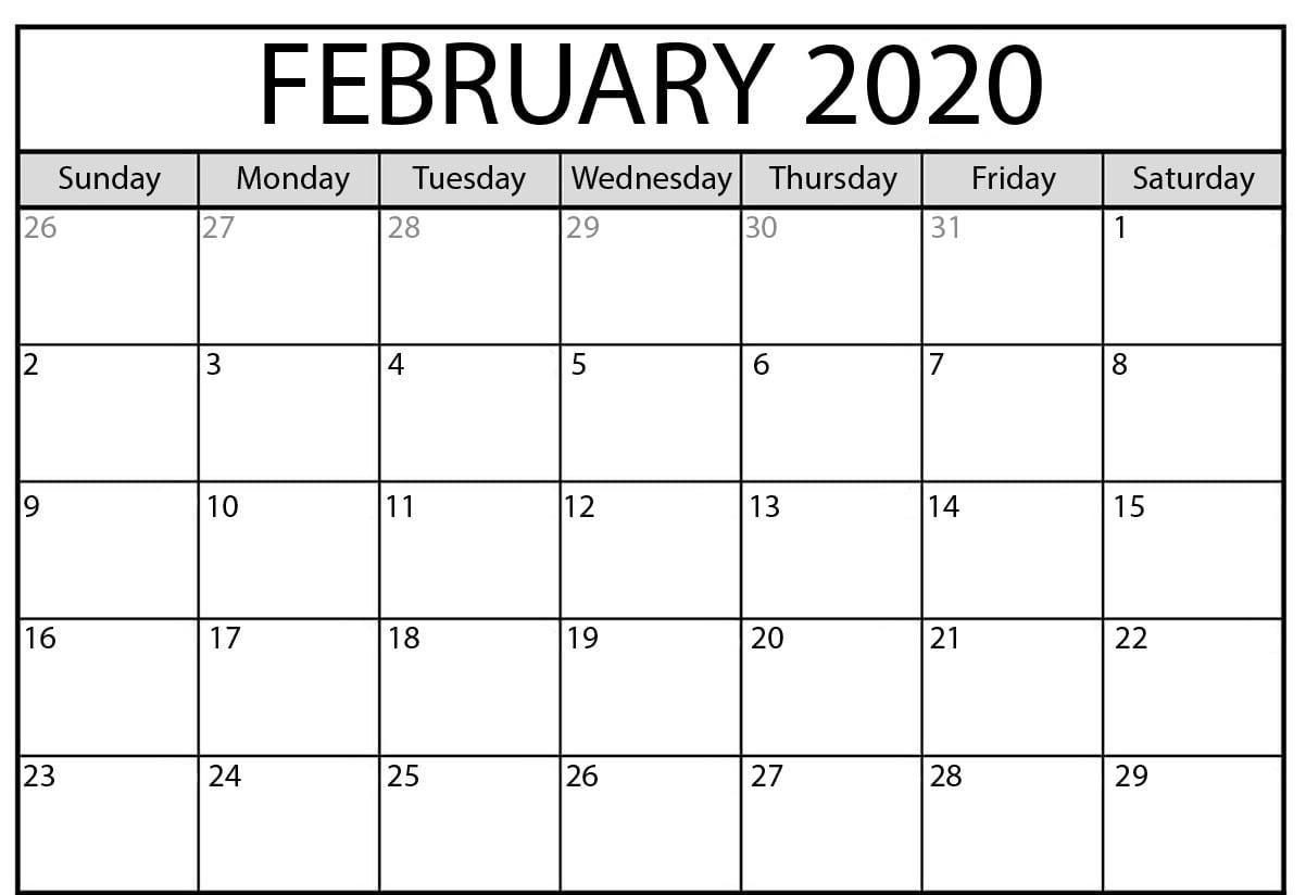 February 2020 Calendar Pdf | Printable Calendar Template within Vertex 2020 Calendars Monday Through Sunday