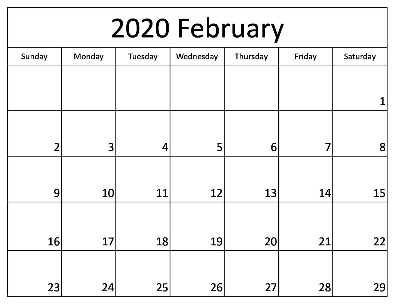 February 2020 Calendar Word Excel & Pdf | 12 Month Printable for 2020 Etited Calendar